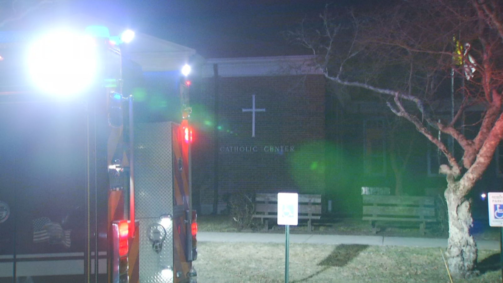 Firefighters respond to St. Basil's Chapel on the Bridgewater State University campus, early Friday, Feb. 21, 2020. (WJAR)