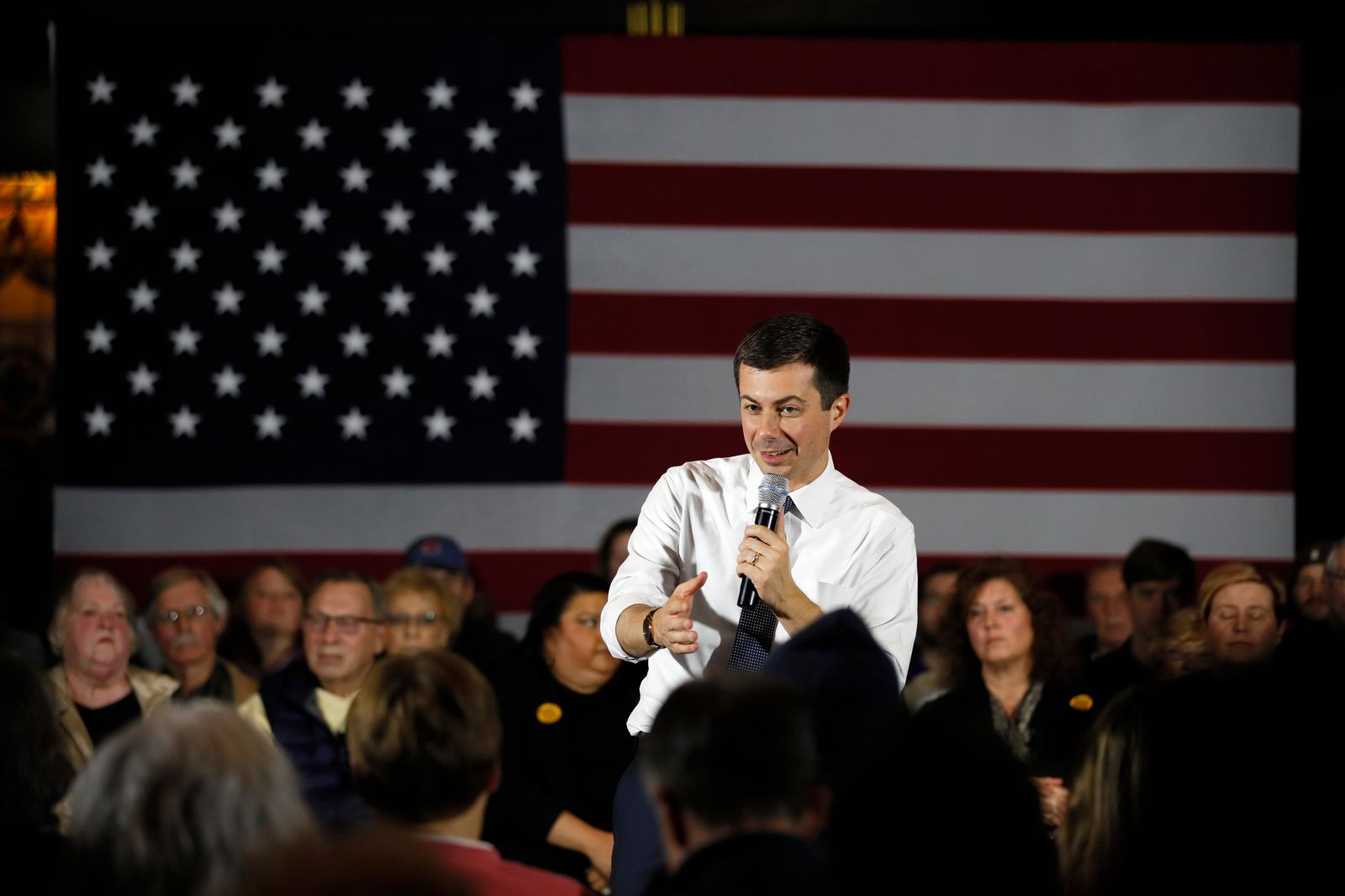 Democratic presidential candidate South Bend, Ind., Mayor Pete Buttigieg speaks during a town hall meeting, Tuesday, Nov. 26, 2019, in Denison, Iowa. (AP Photo/Charlie Neibergall)