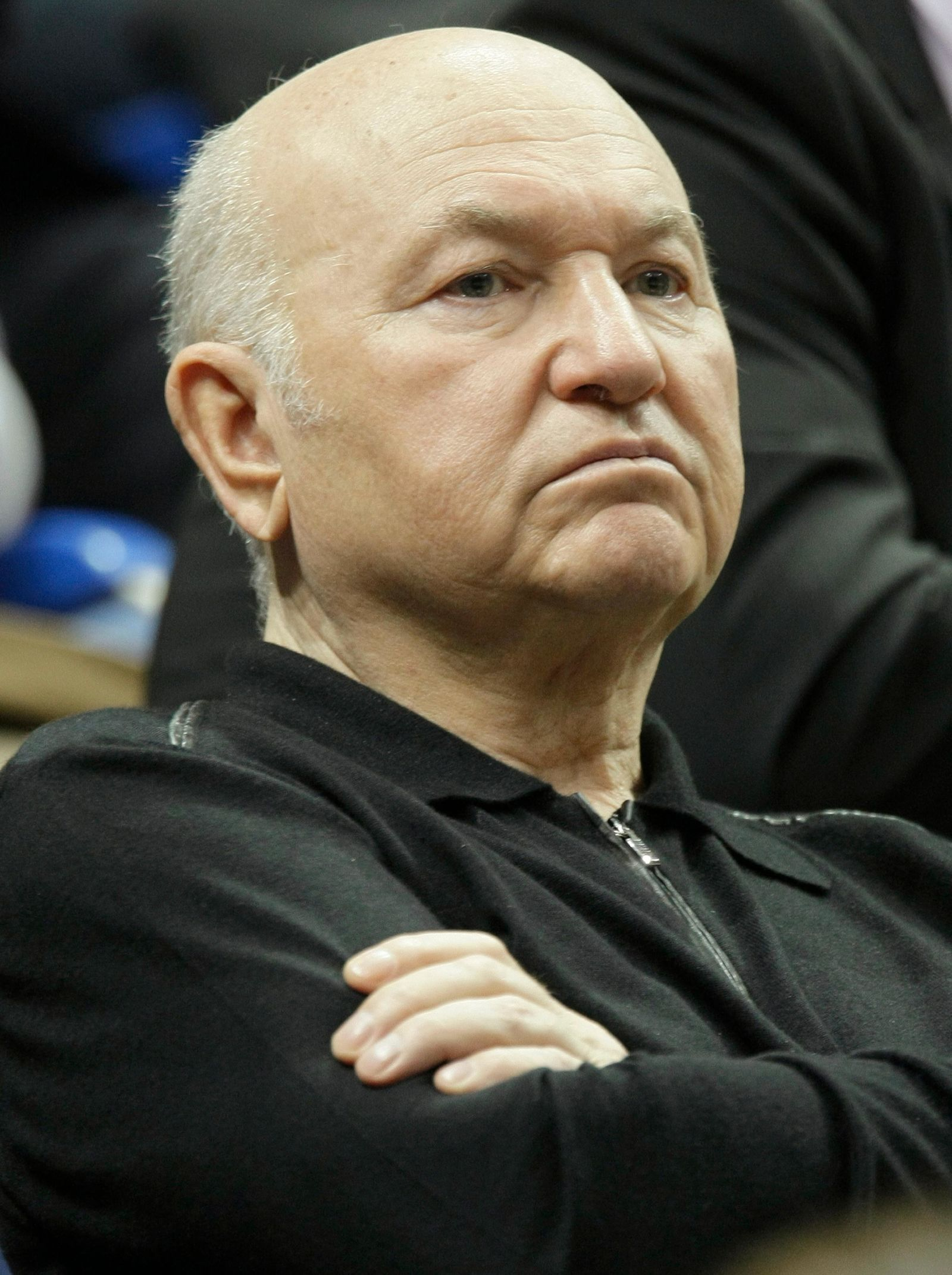FILE - In this Sunday, April 17, 2011 file photo, former Moscow Mayor Yuri Luzhkov attends a Fed Cup World Group semifinal tennis match between Russia and Italy in Moscow, Russia. (AP Photo/Misha Japaridze, File)