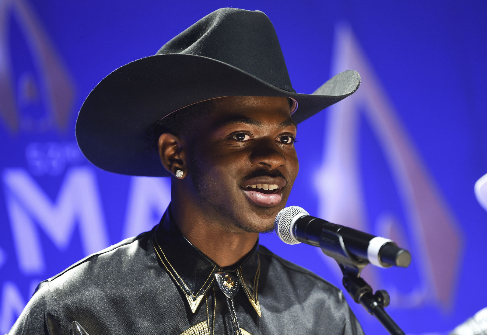 FILE - This Nov. 13, 2019 file photo shows rapper Lil Nas X after winning the musical event of the year award at the 53rd annual CMA Awards in Nashville, Tenn. (Photo by Evan Agostini/Invision/AP, File)