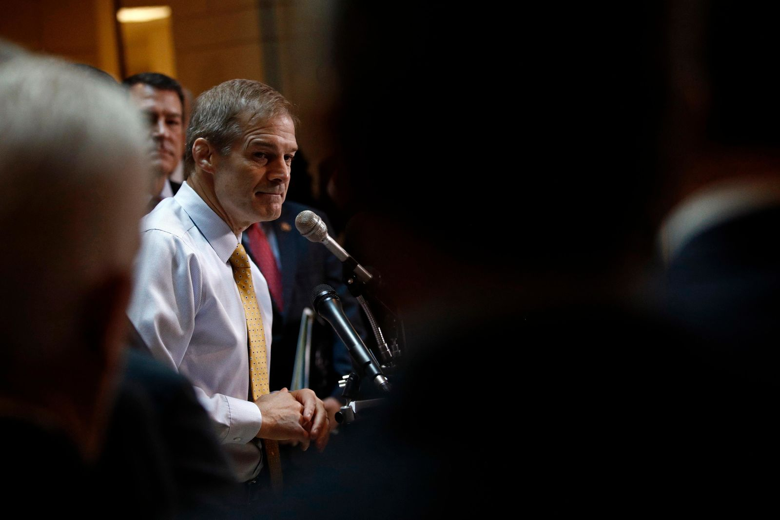 Rep. Jim Jordan, R-Ohio, speaks at a news conference in front of House Republicans after Deputy Assistant Secretary of Defense Laura Cooper arrived for a closed door meeting to testify as part of the House impeachment inquiry into President Donald Trump, Wednesday, Oct. 23, 2019, on Capitol Hill in Washington. (AP Photo/Patrick Semansky)