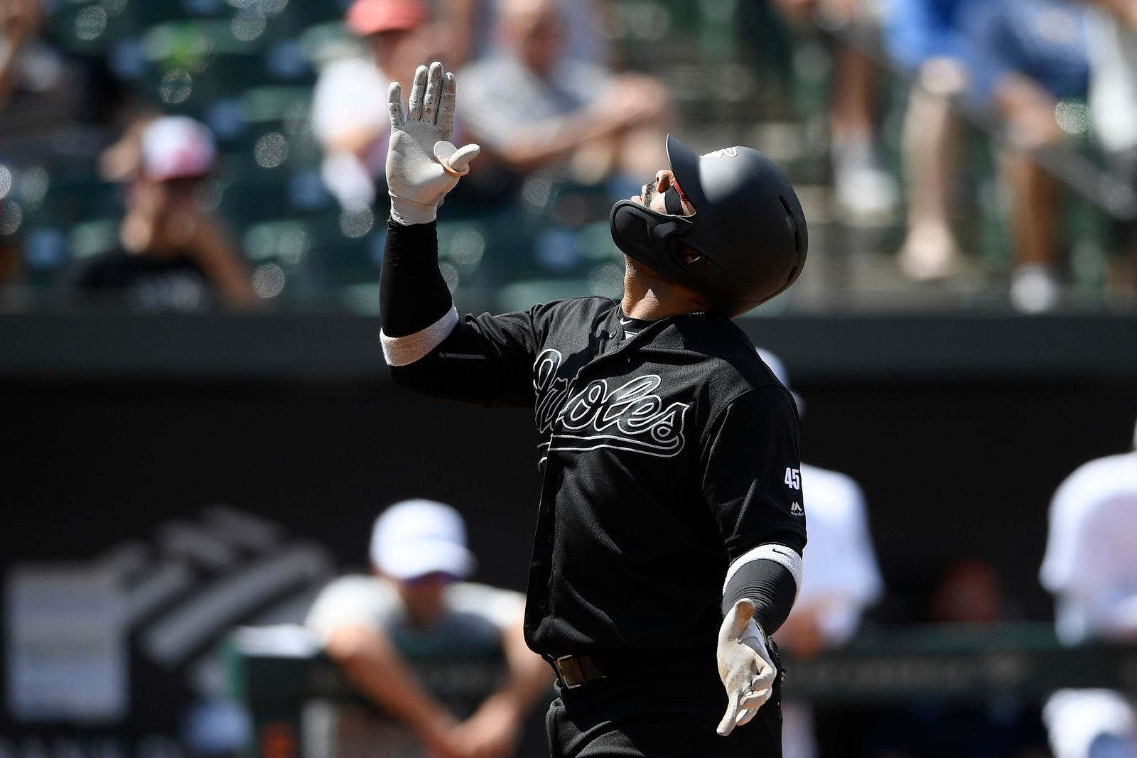 Baltimore Orioles' Jonathan Villar celebrates his home run during the fourth inning of a baseball game against the Tampa Bay Rays, Sunday, Aug. 25, 2019, in Baltimore. (AP Photo/Nick Wass)