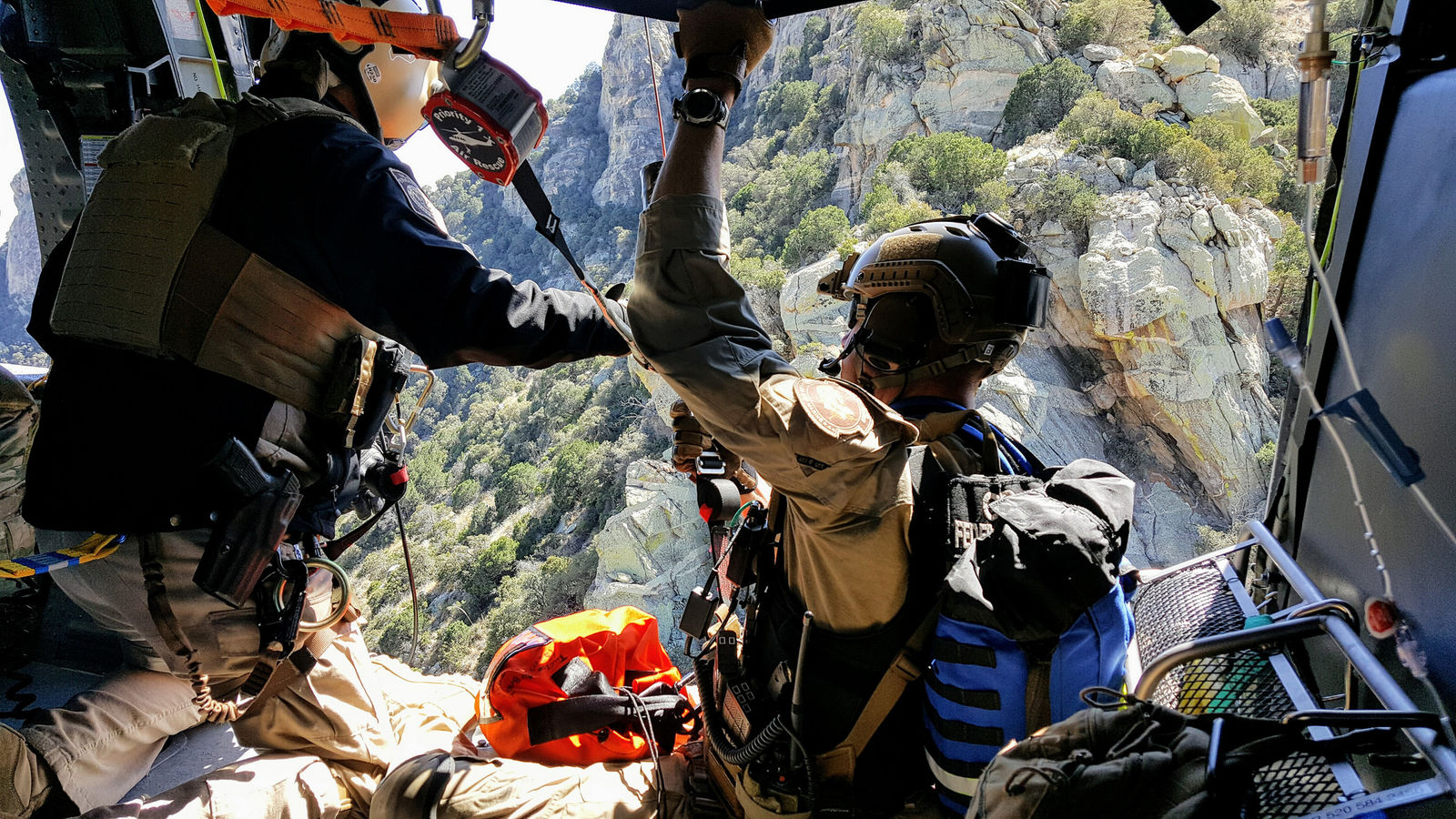 Tucson Sector BORSTAR agents and members from the Tucson Air Branch worked to locate, stabilize and rescue a Guatemalan man who was injured west of Tucson. (Photo provided by: U.S. Customs and Border and Protection)