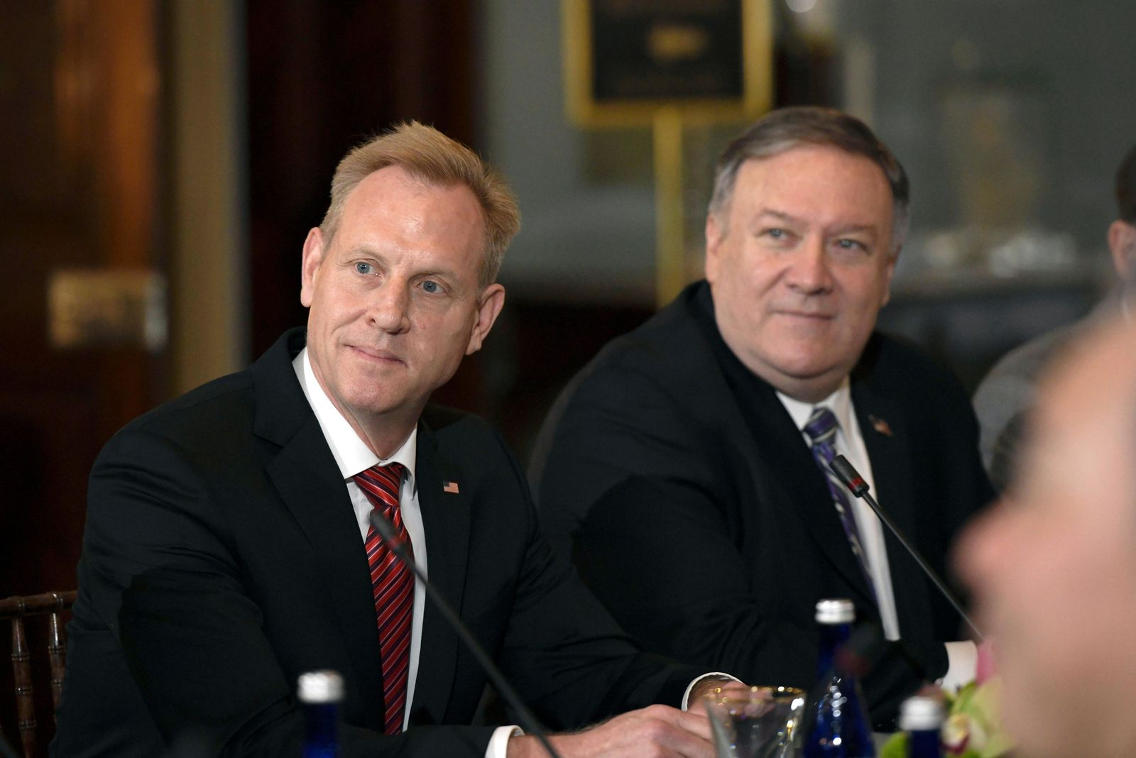 Secretary of State Mike Pompeo, right, and acting Secretary of Defense Patrick Shanahan, left, meet with Japanese Foreign Minister Taro Kono and Defense Minister Takeshi Iwaya on Friday, April 19, 2019, at the Department of State in Washington. (AP Photo/Sait Serkan Gurbuz)