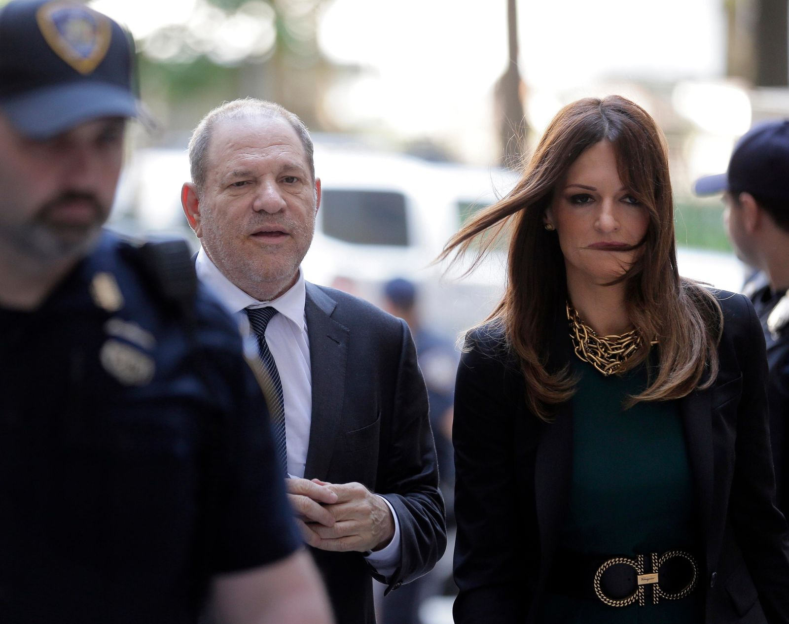 Harvey Weinstein, left, and attorney Donna Rotunno arrive at court for a hearing related to his sexual assault case, Thursday, July 11, 2019,  in New York.{ } (AP Photo/Seth Wenig)