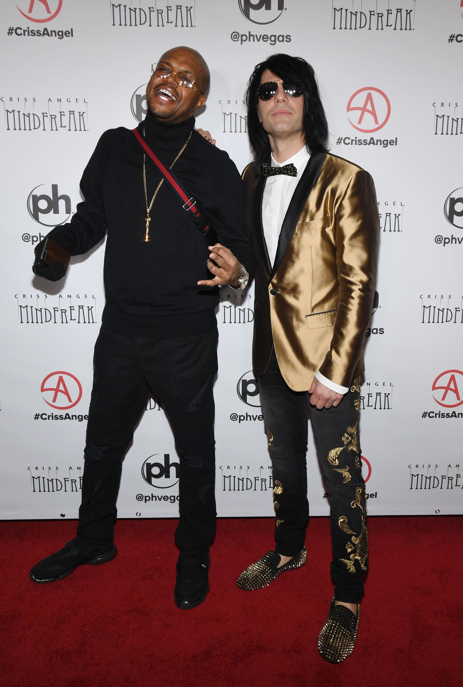 "LAS VEGAS, NEVADA - JANUARY 19:  DJ Paul of rap group Three 6 Mafia and illusionist Criss Angel attend the grand opening of ""Criss Angel MINDFREAK"" at Planet Hollywood Resort & Casino on January 19, 2019 in Las Vegas, Nevada.  (Photo by Ethan Miller/Getty Images for Planet Hollywood Resort & Casino)"