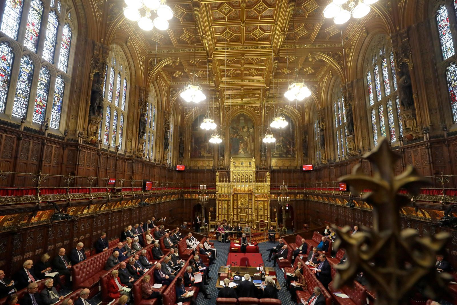 A view inside the House of Lords as the European Withdrawal Agreement Bill is debated in London, Tuesday, Jan. 21, 2020. (AP Photo/Kirsty Wigglesworth, pool)
