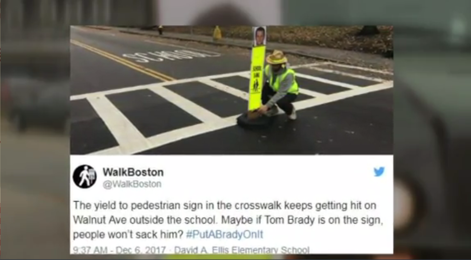 Tired of drivers speeding through a school zone, a Boston physical education teacher turned to New England Patriots quarterback Tom Brady for help. (Photo: WBZ via CNN Newsource)