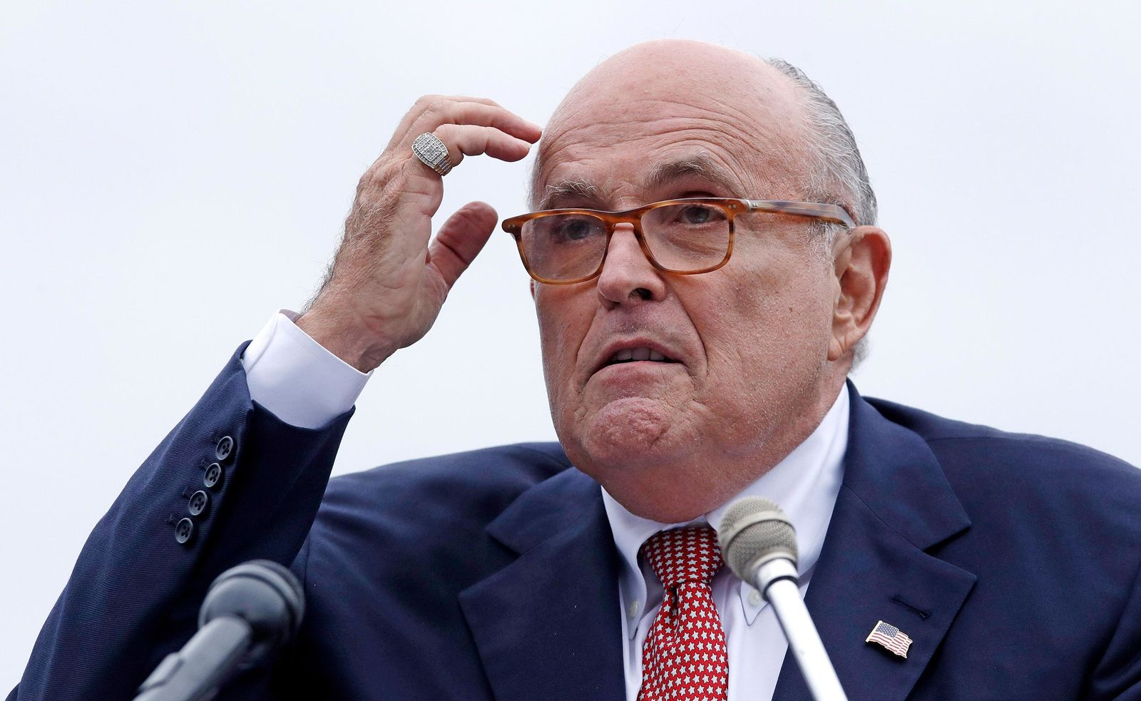 FILE - In this Aug. 1, 2018 file photo, Rudy Giuliani, attorney for President Donald Trump, addresses a gathering during a campaign event in Portsmouth, N.H. (AP Photo/Charles Krupa, File )