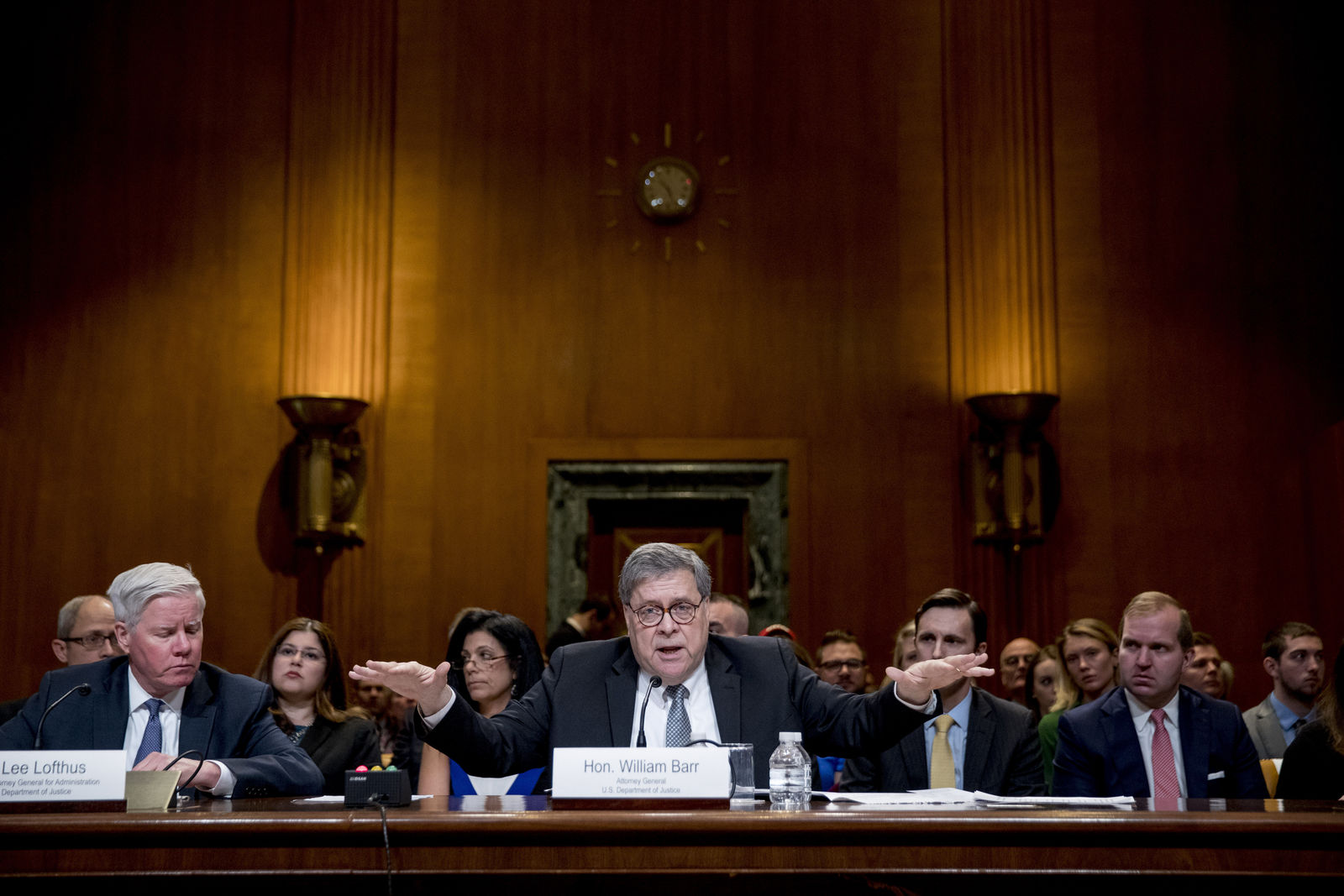 Attorney General William Barr reacts as he appears before a Senate Appropriations subcommittee to make his Justice Department budget request, Wednesday, April 10, 2019, in Washington. (AP Photo/Andrew Harnik)