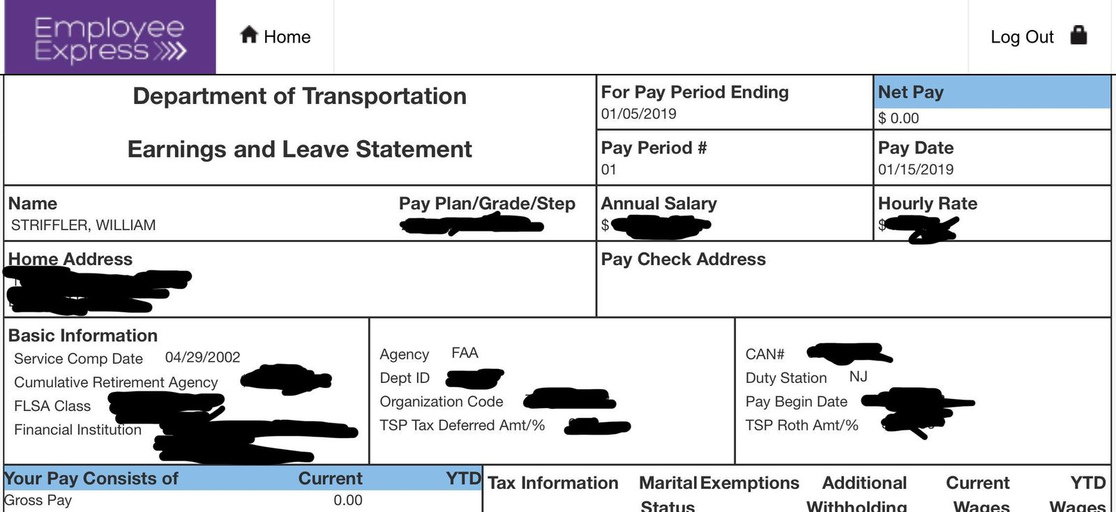 This portion of Bill Striffler's electronic pay stub provided by him to the Associated Press on Friday, Jan. 11, 2019, with portions blacked out by him, shows his recent pay to be $0.00 for his work as an air traffic controller at Newark Airport. (Bill Striffler via AP)