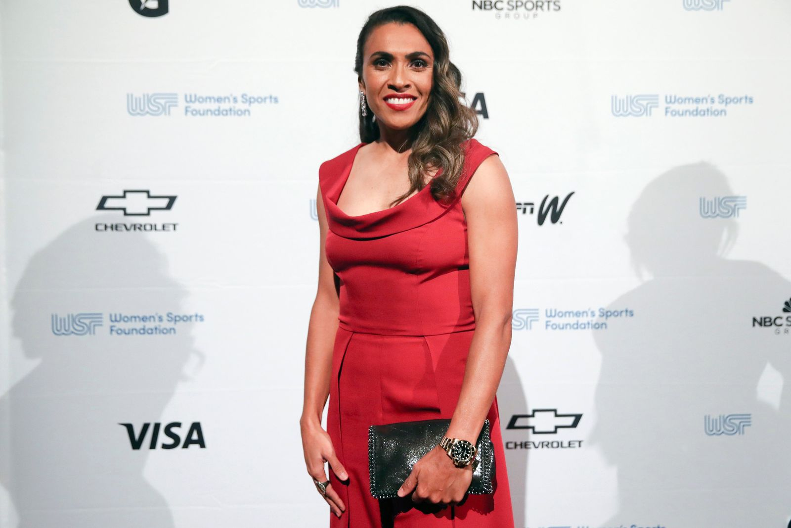 In this Wednesday, Oct. 16, 2019, photo Brazilian soccer star Marta Vieira da Silva poses for photos on the red carpet of the Women's Sports Foundation's 40th annual Salute to Women in Sports in New York. Marta, who was honored with the Wilma Rudolph Courage Award, is a six-time FIFA Player of the Year.  (AP Photo/Mary Altaffer)