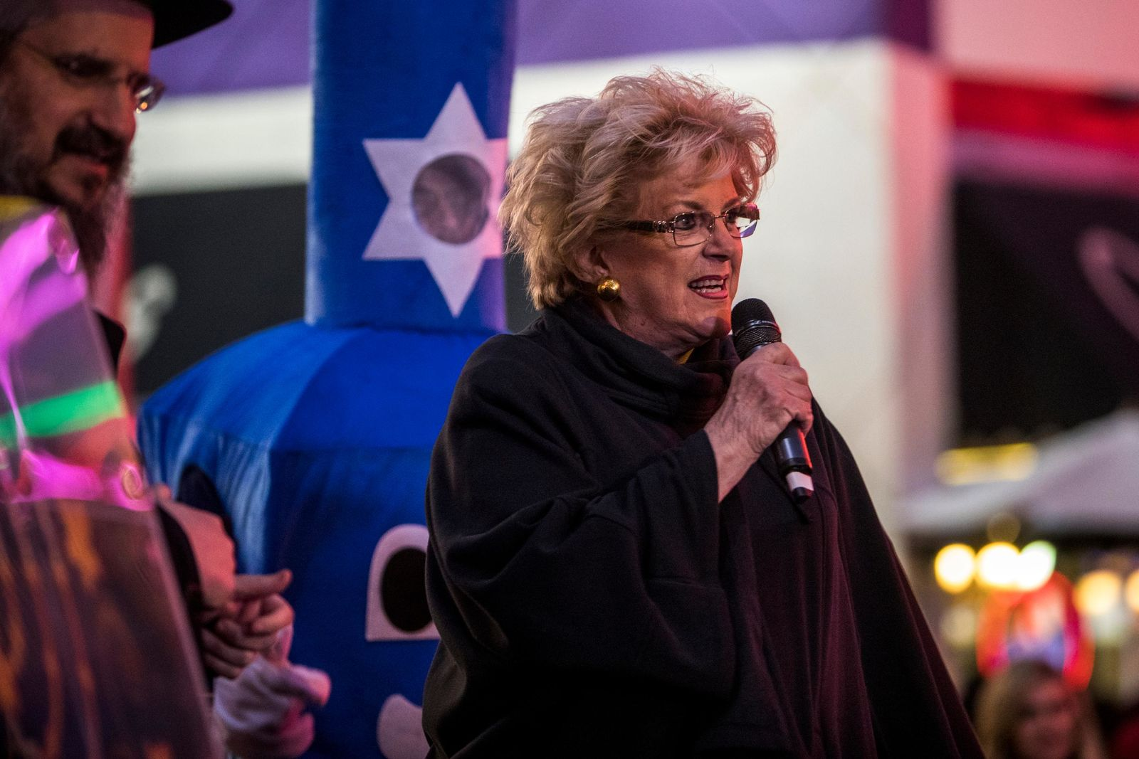 Las Vegas Mayor Carolyn Goodman speaks before the lighting of the Grand Menorah in downtown Las Vegas on Sunday, Dec. 2. The ceremony featured a 20-foot Grand Menorah, with ceremonies led by Rabbi Shea Harlig from Chabad of Southern Nevada. CREDIT: Joe Buglewicz/Las Vegas News Bureau