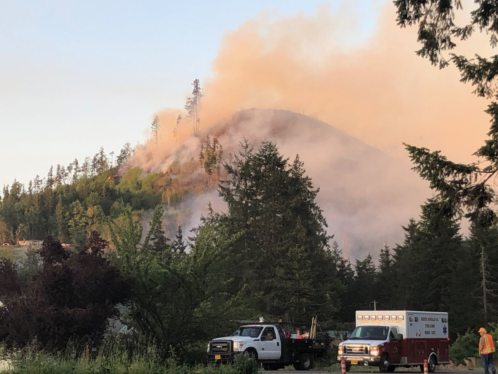 The fire destroyed a home, closed roads and put residents on notice to be ready to evacuate Friday, May 10, 2019. (SBG)