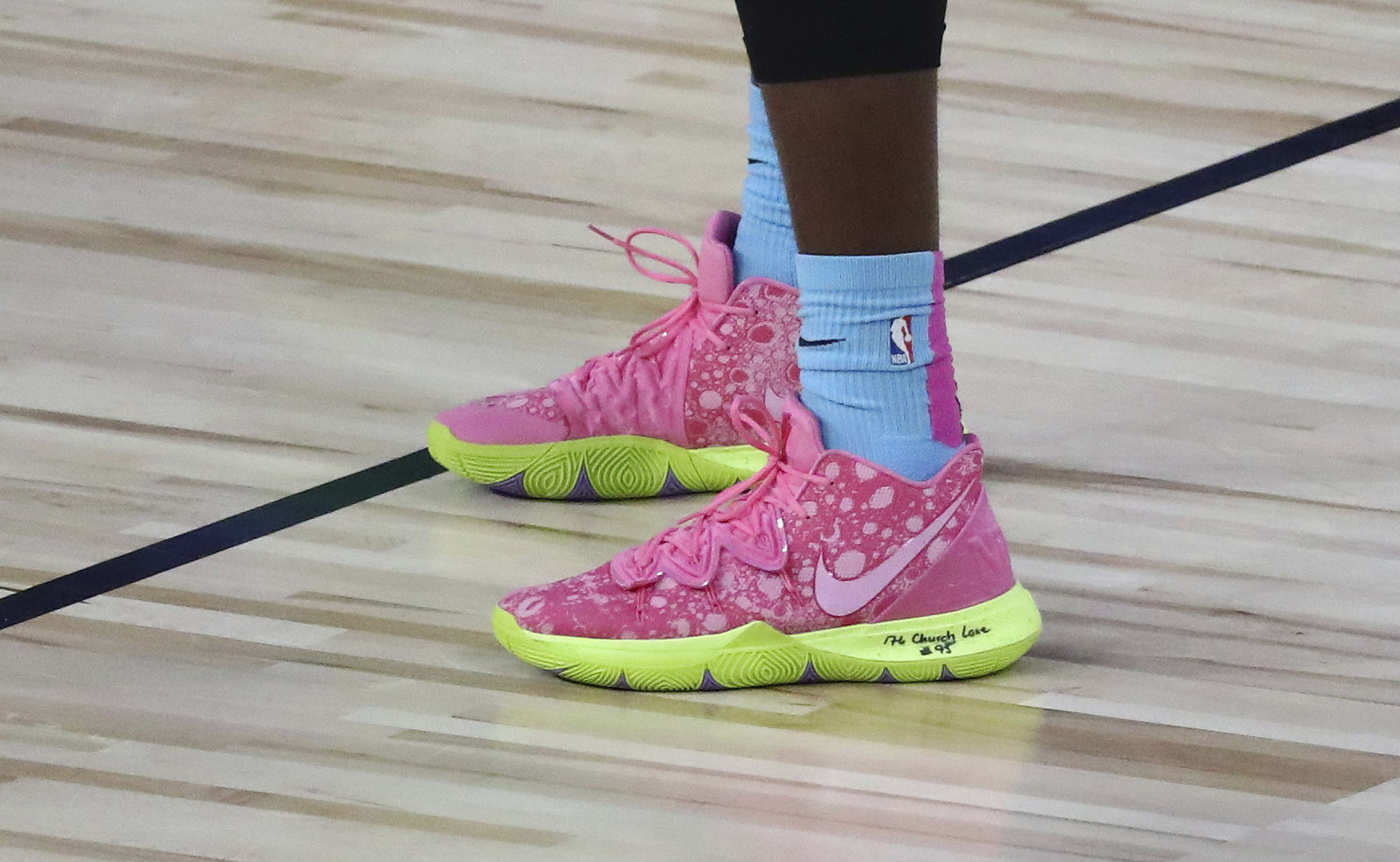 A detail view of shoes worn by Miami Heat forward Bam Adebayo during the first half of an NBA basketball game against the Boston Celtics Tuesday, Aug. 4, 2020, in Lake Buena Vista, Fla. (Kim Klement/Pool Photo via AP)