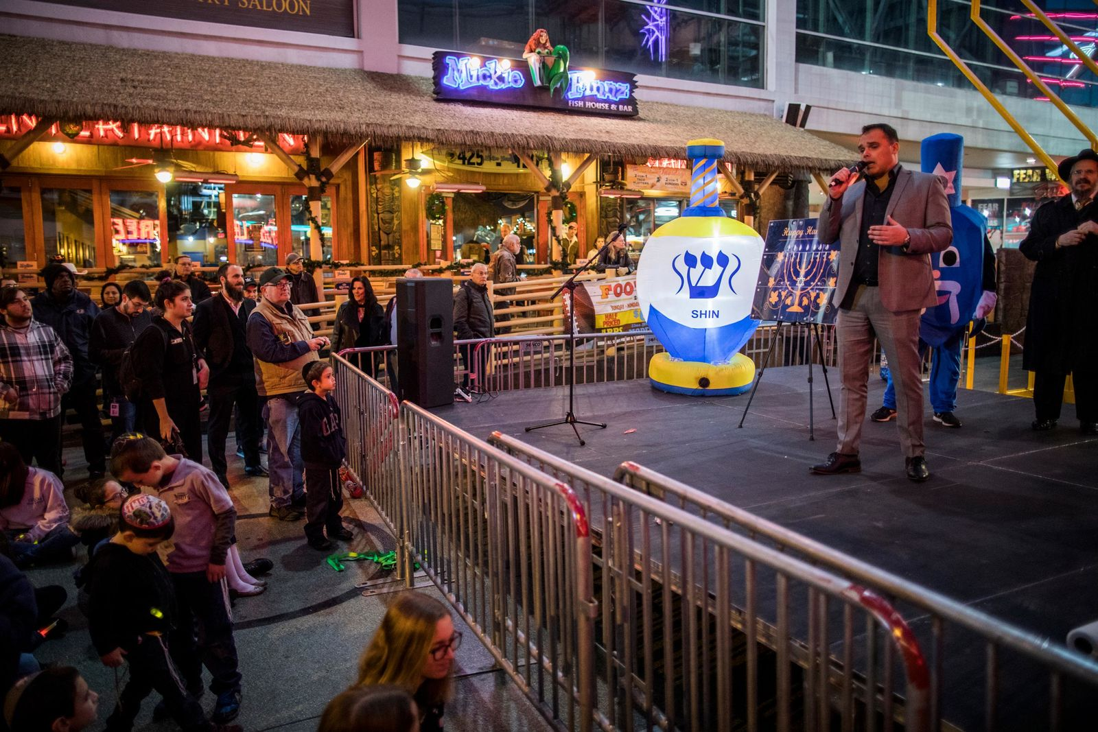 Chief Marketing Officer of Fremont Street Experience Paul McGuire speaks before the lighting of the Grand Menorah in downtown Las Vegas on Sunday, Dec. 2. The Grand Menorah will remain on display throughout the Hanukkah season. CREDIT: Joe Buglewicz/Las Vegas News Bureau