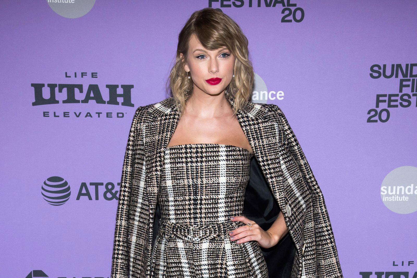 "FILE - This Jan. 23, 2020 file photo shows Taylor Swift at the premiere of ""Taylor Swift: Miss Americana"" in Park City, Utah. (Photo by Charles Sykes/Invision/AP, File)"