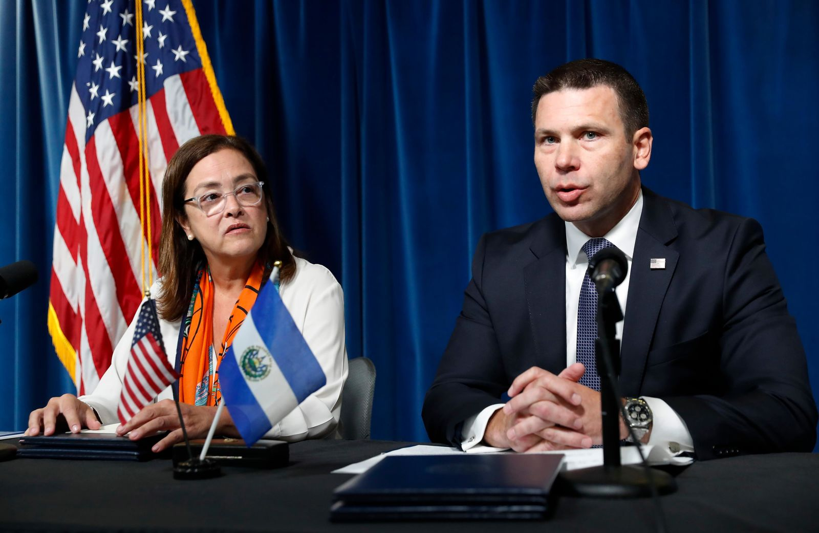 Acting Secretary of Homeland Security Kevin McAleenan speak during a news conference with El Salvador Foreign Affairs Minister Alexandra Hill at the U.S. Customs and Border Protection headquarters in Washington, Friday, Sept. 20, 2019.  (AP Photo/Pablo Martinez Monsivais)