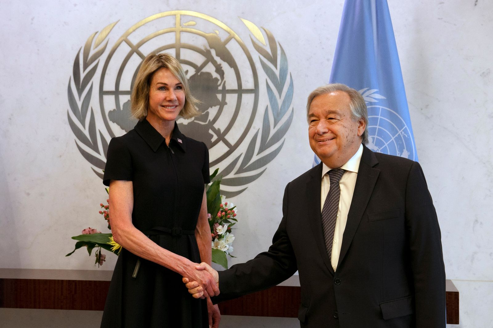 New U.S. Ambassador Kelly Craft shakes hands UN Secretary General Antonio Guterres after she presented her cresentials at United Nations headquarters, Thursday, Sept. 12, 2019. (AP Photo/Richard Drew)