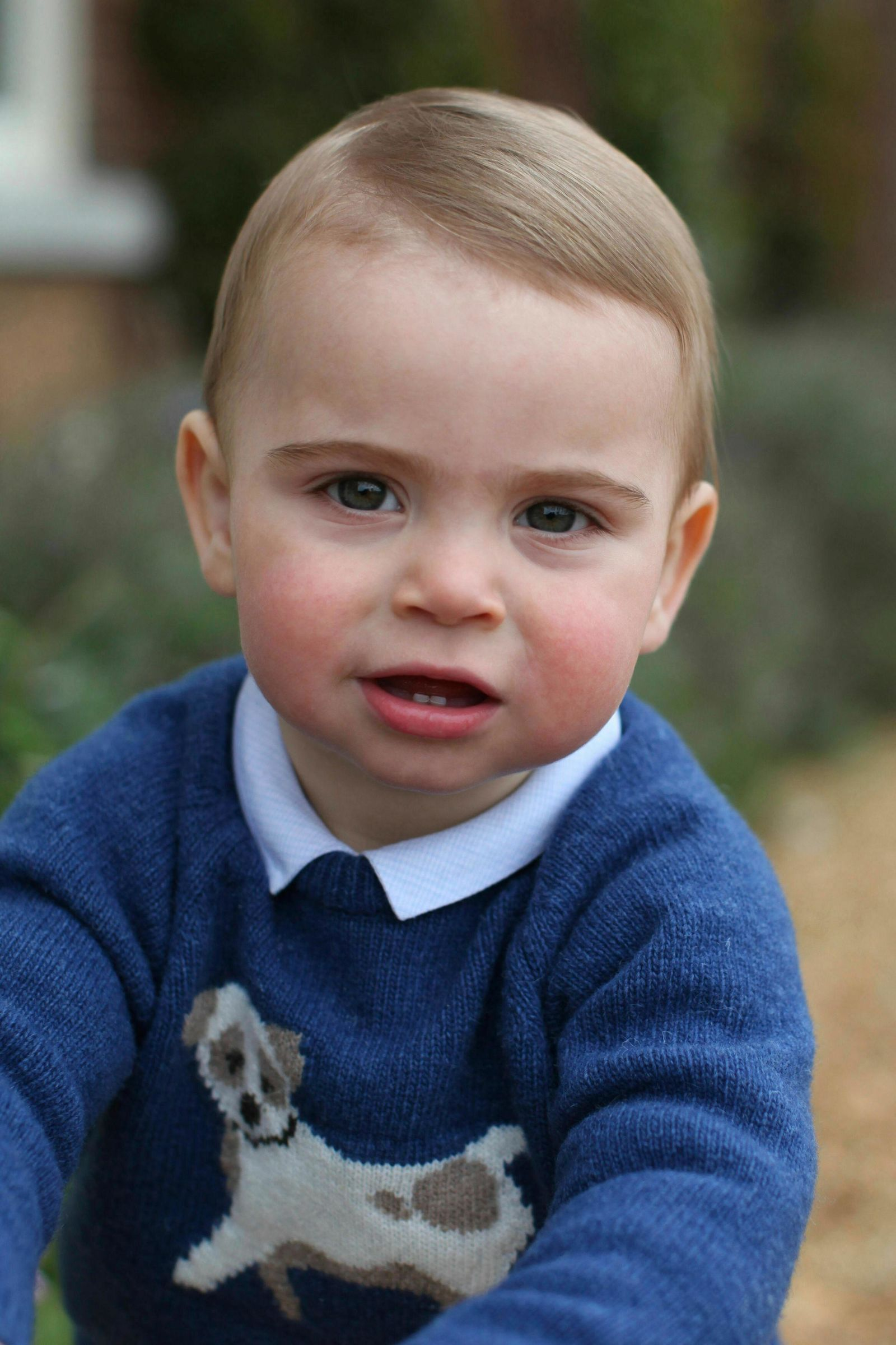 This photo released by Kensington Palace on Monday April 22, 2019, and taken by Kate, Duchess of Cambridge, shows Prince Louis at their home in Norfolk, England, to mark his first birthday on Tuesday. (Duchess of Cambridge/Kensington Palace via AP)