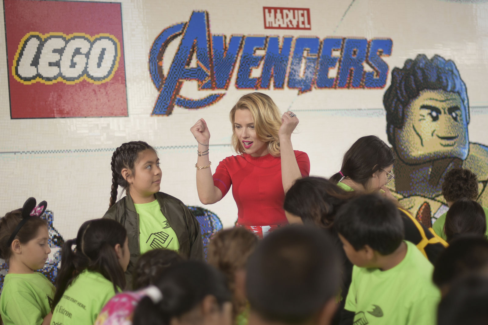 "Actor Scarlett Johansson, from the upcoming film "" Avengers: Endgame"" appears with kids at an event promoting the Universe Unites Charity at Disney California Adventure Park on Friday, April 5, 2019, in Anaheim, Calif. (Photo by Richard Shotwell/Invision/AP)"