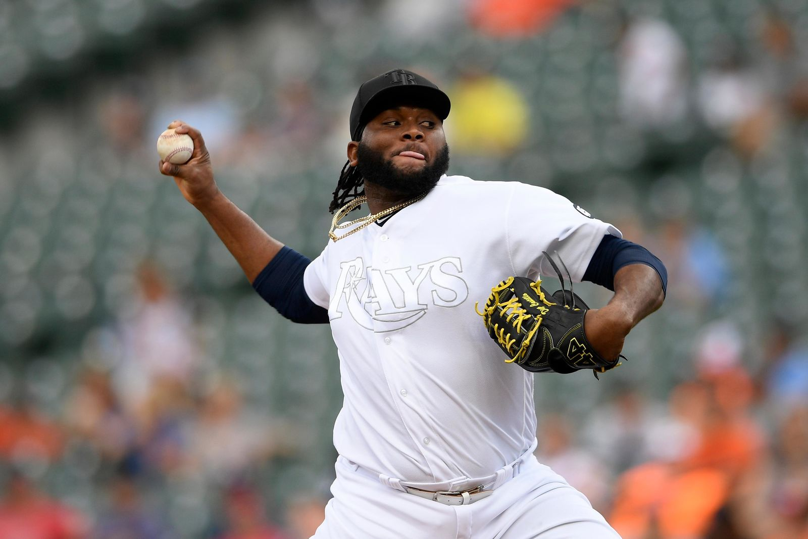 Tampa Bay Rays starting pitcher Diego Castillo delivers during the first inning of a baseball game against the Baltimore Orioles, Sunday, Aug. 25, 2019, in Baltimore. (AP Photo/Nick Wass)