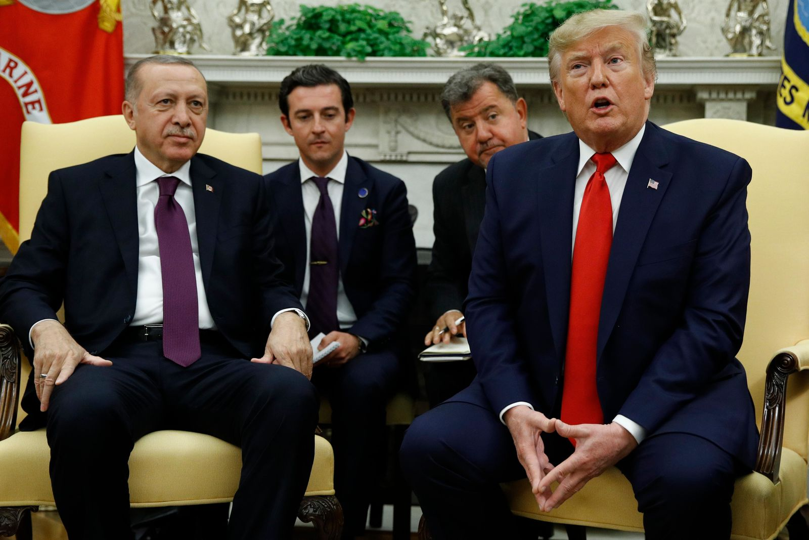 President Donald Trump and Turkish President Recep Tayyip Erdogan meet in the Oval Office with Republican senators at the White House Wednesday, Nov. 13, 2019, in Washington. (AP Photo/Patrick Semansky)