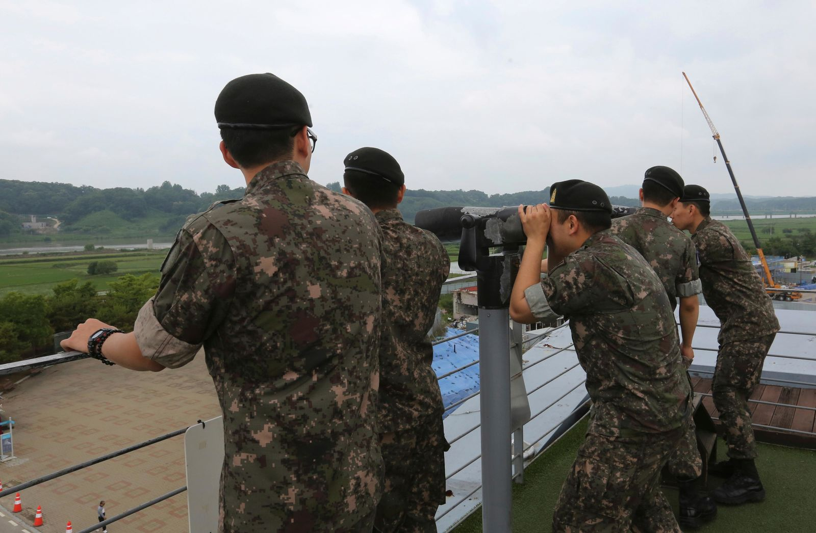 South Korean army soldiers look toward the North's side at the Imjingak Pavilion, near the demilitarized zone of Panmunjom, in Paju, South Korea, Thursday, June 20, 2019.{ } (AP Photo/Ahn Young-joon)