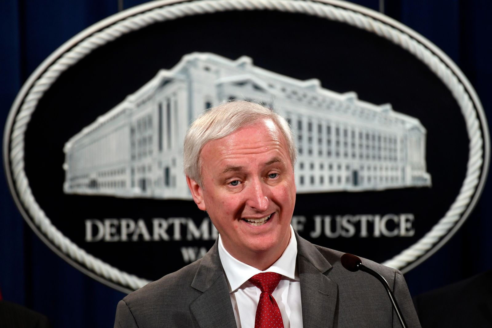 Deputy Attorney General Jeffrey Rosen speaks during a news conference at the Justice Department in Washington, Friday, July 19, 2019, on developments in the implementation of the First Step Act. About 2,200 federal inmates will be released by the federal Bureau of Prisons under the criminal justice reform measure signed into law last year by President Donald Trump. (AP Photo/Susan Walsh)