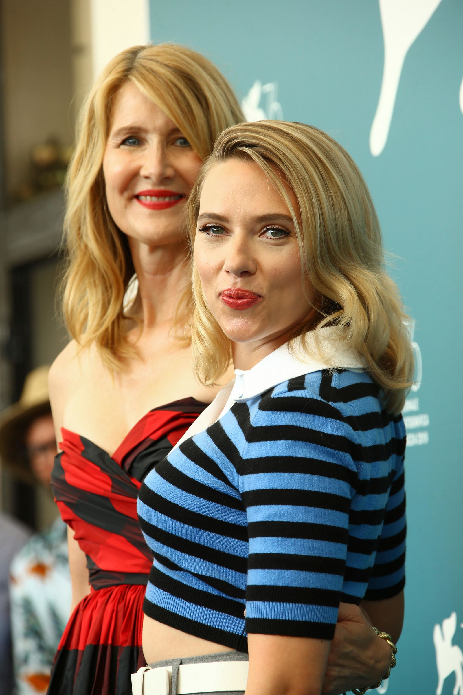 Actresses Laura Dern, back, and Scarlett Johansson pose for photographers at the photo call of the film 'Marriage Story' at the 76th edition of the Venice Film Festival in Venice, Italy, Thursday, Aug. 29, 2019. (Photo by Joel C Ryan/Invision/AP)