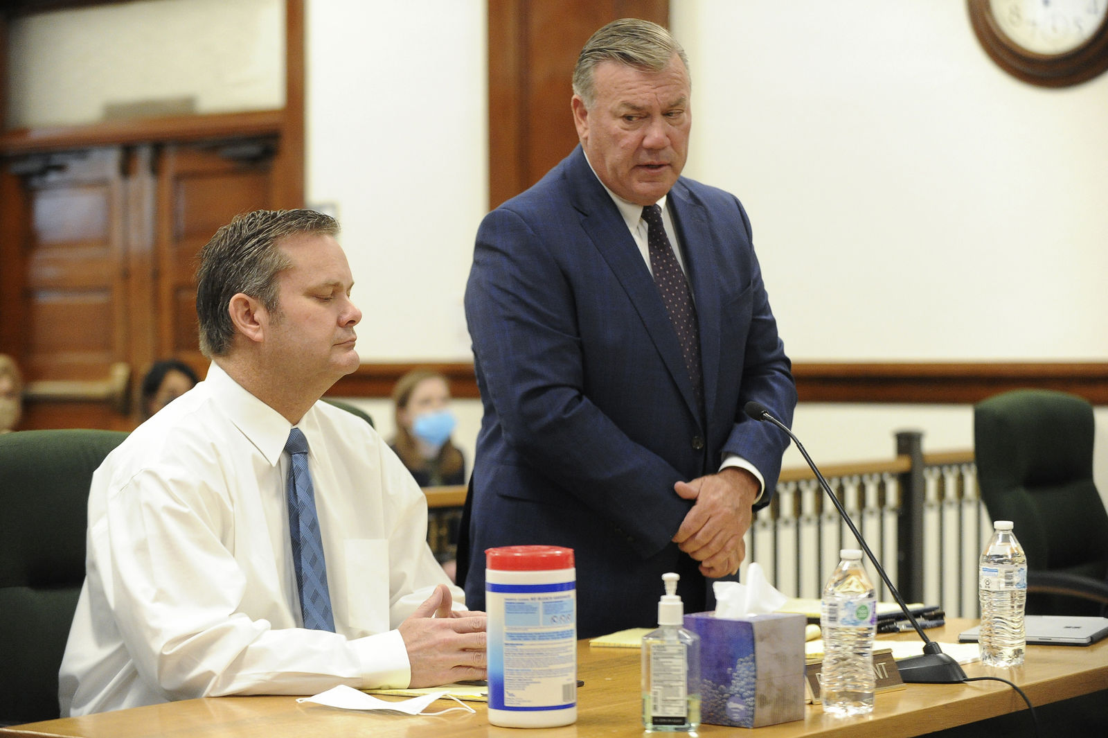 "Defense attorney John Prior, right, addresses Magistrate Judge Faren Eddins as to why he and Chad Daybell, left, are not wearing masks in court during a preliminary hearing in St. Anthony, Idaho, on Monday, August 3, 2020. The preliminary hearing will help a judge decide if the charges against Chad Daybell will move forward in state court. Daybell, 52, is charged with concealing evidence by destroying or hiding the bodies of 7-year-old Joshua ""JJ"" Vallow and 17-year-old Tylee Ryan at his eastern Idaho home. (John Roark/The Idaho Post-Register via AP, Pool)"