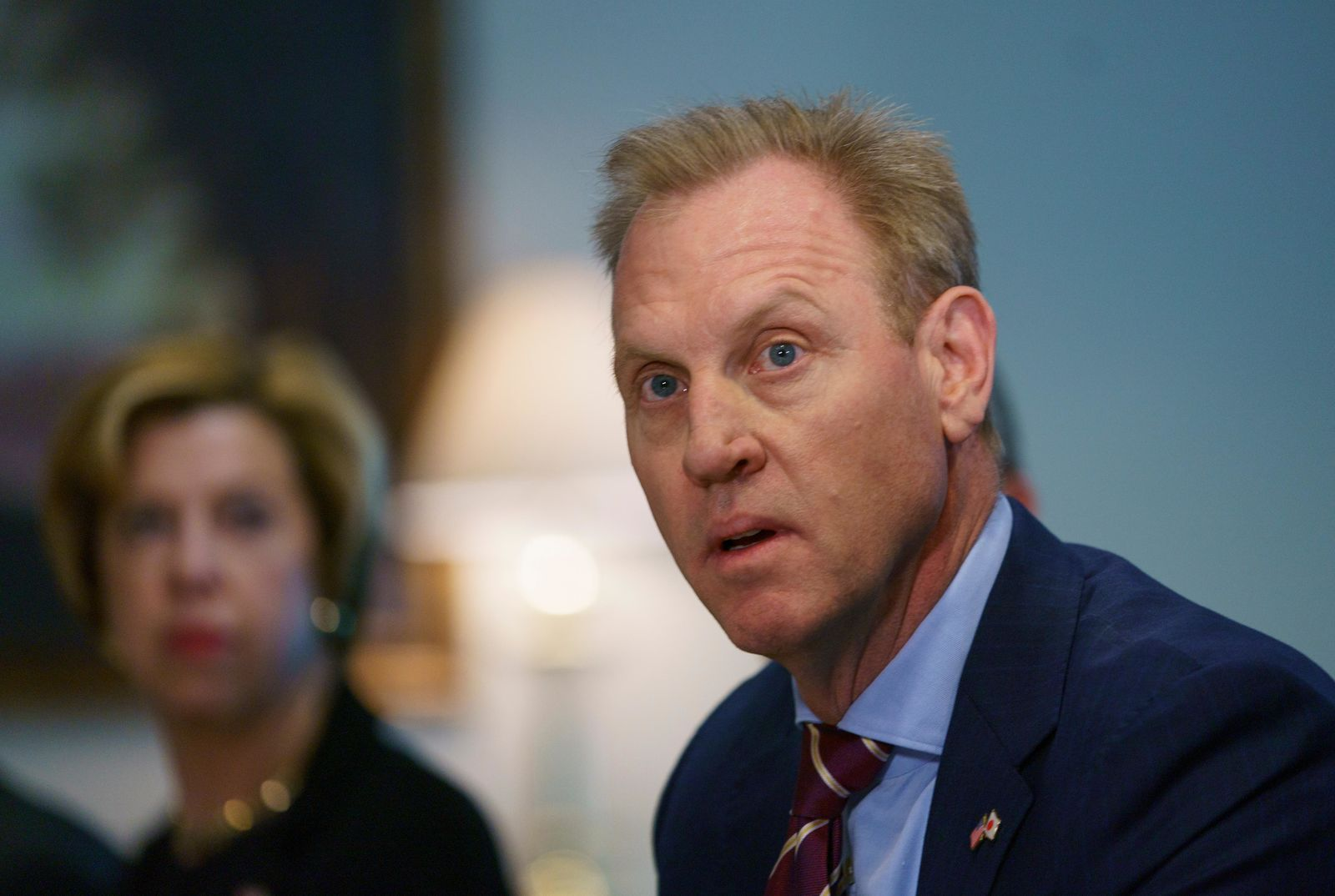 Acting Secretary of Defense Patrick Shanahan speaks at the beginning of a meeting with Japan's Defense Minister Takeshi Iwaya at the Pentagon, Wednesday, Jan. 16, 2019, about U.S. troops killed in an explosion while conducting a routine patrol in Syria. (AP Photo/Carolyn Kaster)