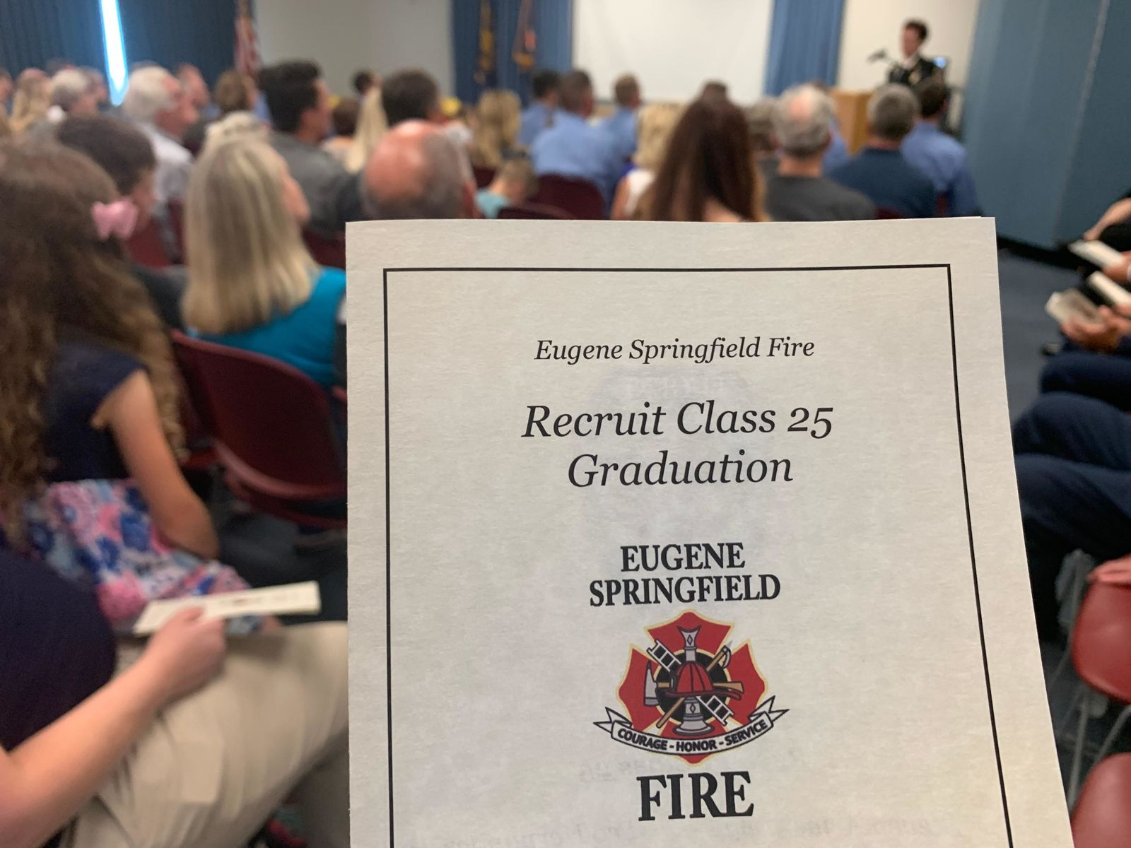 <p>11 new firefighters received their badge and helmet, graduating as Eugene Springfield Fire Department recruits, July 12, 219. (SBG)</p>