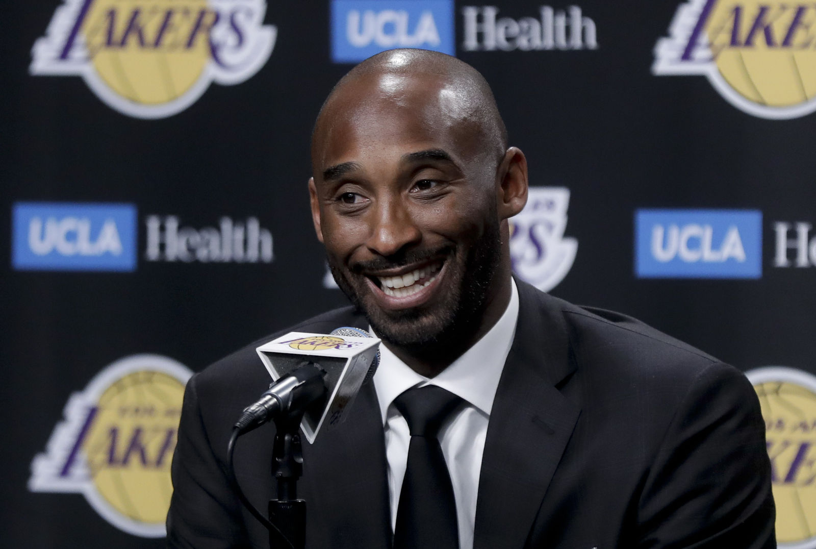 FILE - In this Dec. 18, 2017 file photo, former Los Angeles Laker Kobe Bryant talks during a news conference in Los Angeles. (AP Photo/Chris Carlson, File)