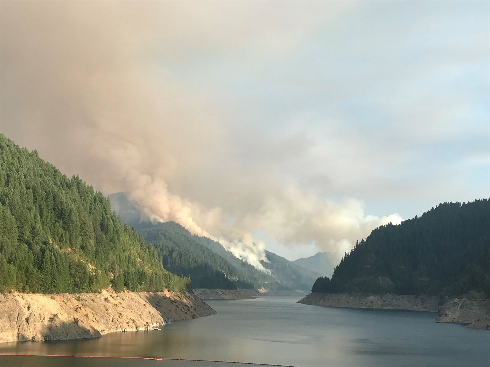 The fire broke out Sunday near Terwilliger Hot Springs and quickly grew to 110 acres in a matter of hours, officials said. (August 19, 2018, photo via InciWeb)