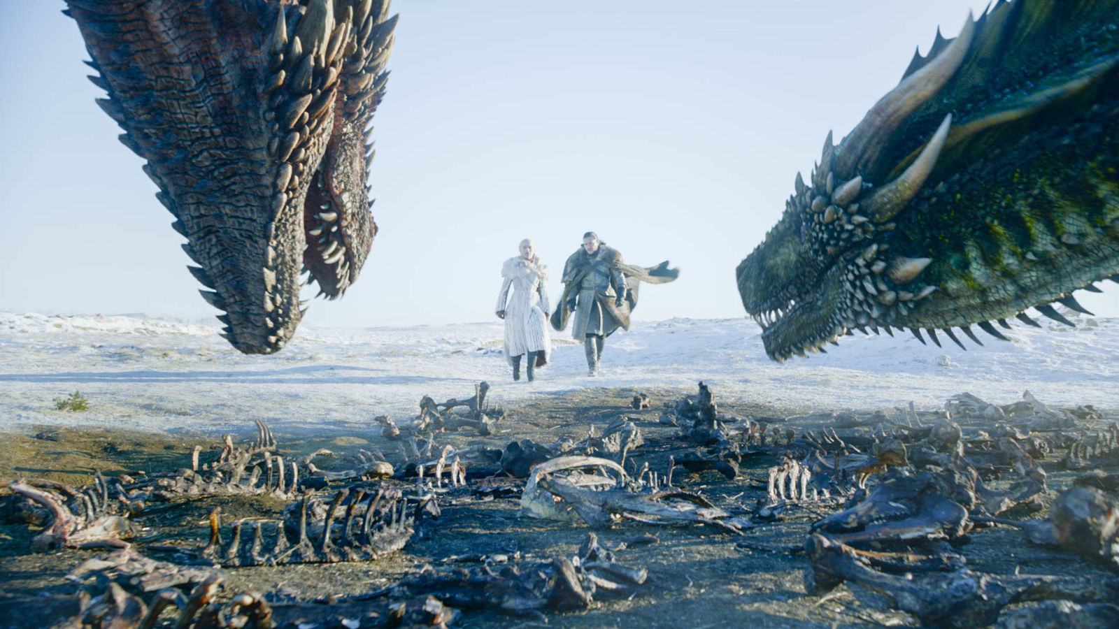 "This image released by HBO shows Emilia Clarke, left, and Kit Harington in a scene from the final episode of ""Game of Thrones."" On Tuesday, July 16, 2019, the program was nominated for an Emmy Award for outstanding drama series. (HBO via AP)"