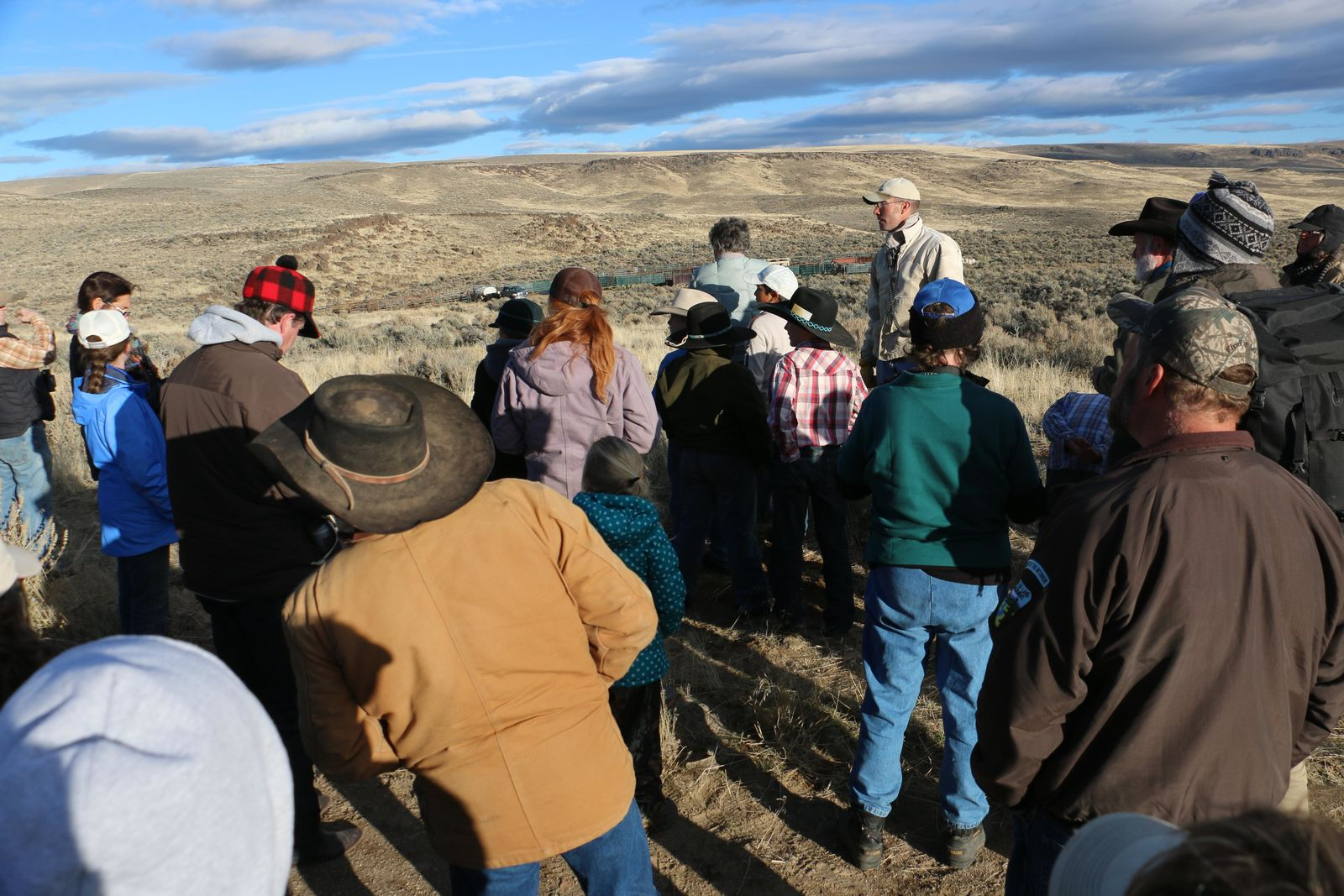 In early November of 2015, the BLM aimed to gather wild horses from the Beaty Butte Management Area. The remote southern Oregon location is 65 miles east of Lakeview and adjacent to the Hart Mountain National Wildlife Refuge.  On Day 2 of the gather, Nov. 5, Fred Woehl, chairman of the National Wild Horse and Burro Advisory Board, visited the site and spoke with students from Adel and Plush schools.  Photos: Larry Moore, BLM