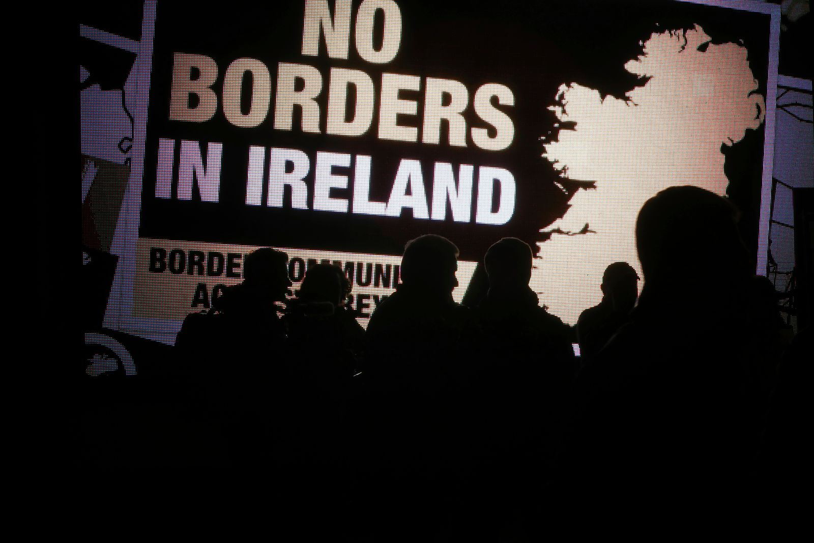 Protesters from the Border Communities Against Brexit group hold a demonstration on the Irish border on the Republic of Ireland side close to the town of Jonesborough, Ireland, Wednesday, Oct. 16 , 2019. The Border Communities Against Brexit group organised various protes(AP Photo/Peter Morrison)