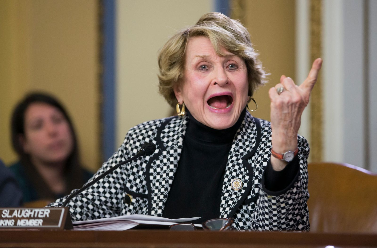 FILE- In this Jan. 5, 2016 file photo, Rep. Louise Slaughter, D-N.Y., the top Democrat on the House Rules Committee, voices her objections on Capitol Hill in Washington, as the GOP-led panel prepares legislation that would repeal President Barack Oabma's signature health care law. Slaughter, who passed away on March on March 16, 2018, is among 10 people who will be inducted into the National Women's Hall of Fame during a ceremony on Saturday, Sept. 14, 2019. (AP Photo/J. Scott Applewhite, File)