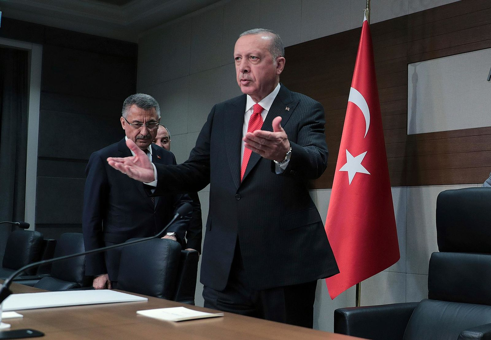 Turkey's President Recep Tayyip Erdogan speaks to the media before traveling to Azerbaijan, in Istanbul, Monday, Oct. 14, 2019.{ } (Presidential Press Service/Pool Photo via AP)