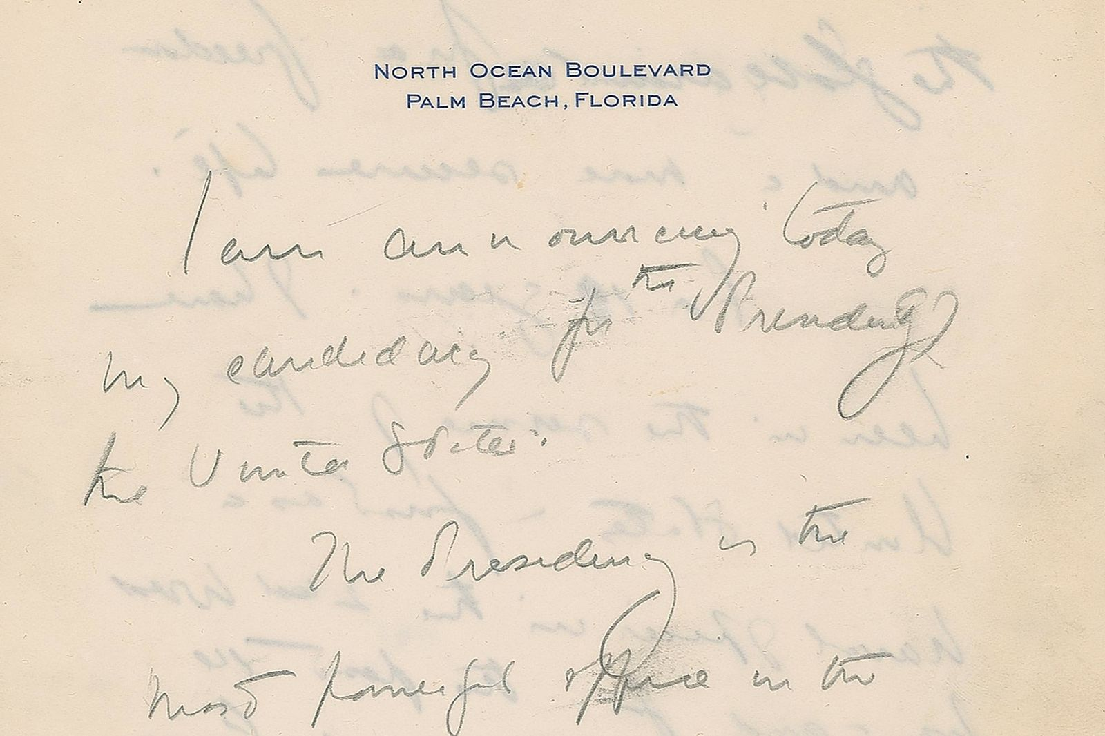 This December 2019, image released by RR Auction shows the top of the first page of a handwritten draft of the 1960 speech by John F. Kennedy announcing his intention to run for president.(Nikki Brickett/RR Auction via AP)