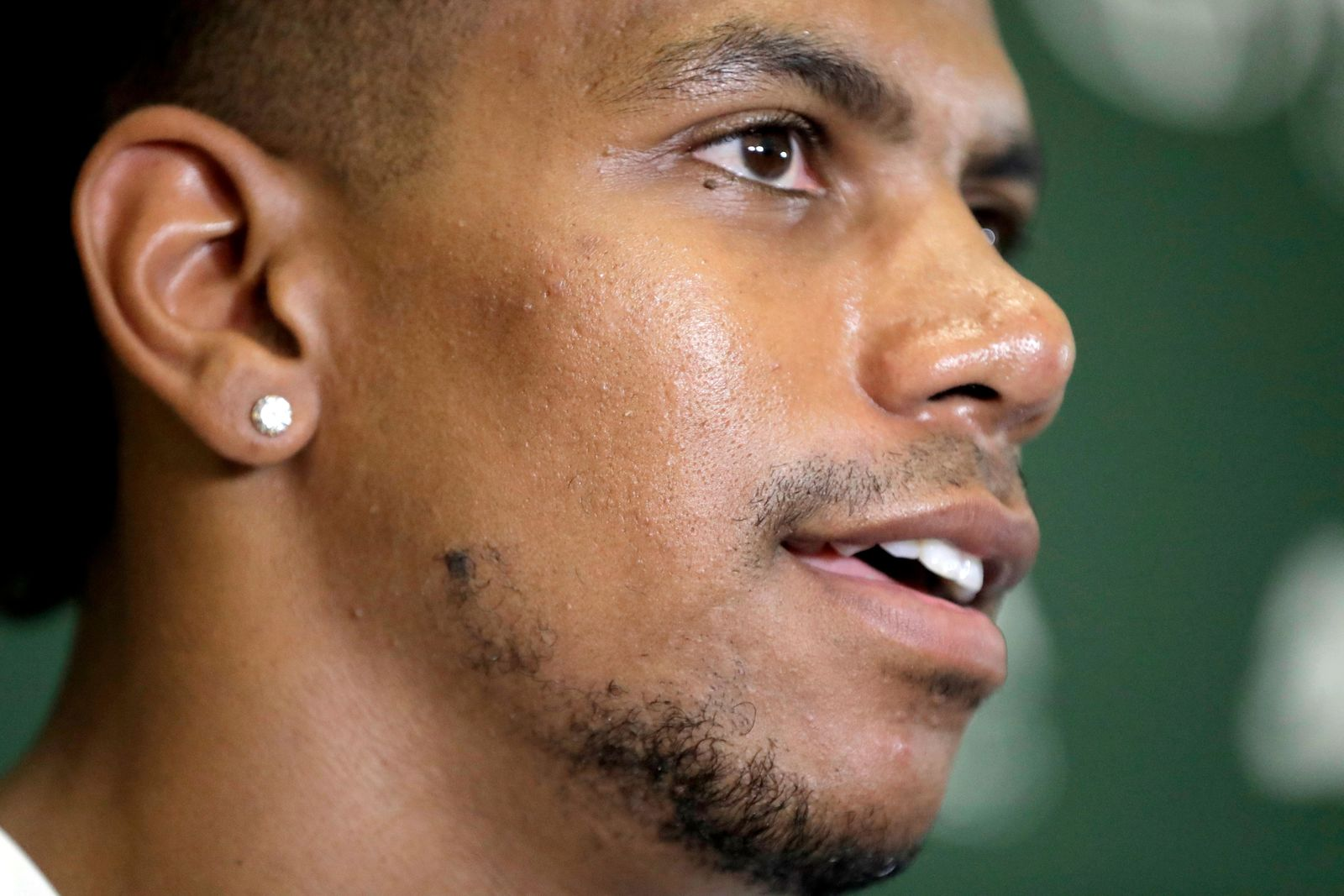 FILE - In this July 27, 2018, file photo, New York Jets wide receiver Terrelle Pryor talks to reporters during NFL football training camp in Florham Park, N.J. Allegheny County, Pa., District Attorney spokesman Mike Manko confirmed Saturday, Nov. 30, 2019, that Pryor, a free agent, was the victim of a stabbing, but said he had no other information, such as Pryor's condition or where and when the stabbing occurred.  (AP Photo/Julio Cortez, File)