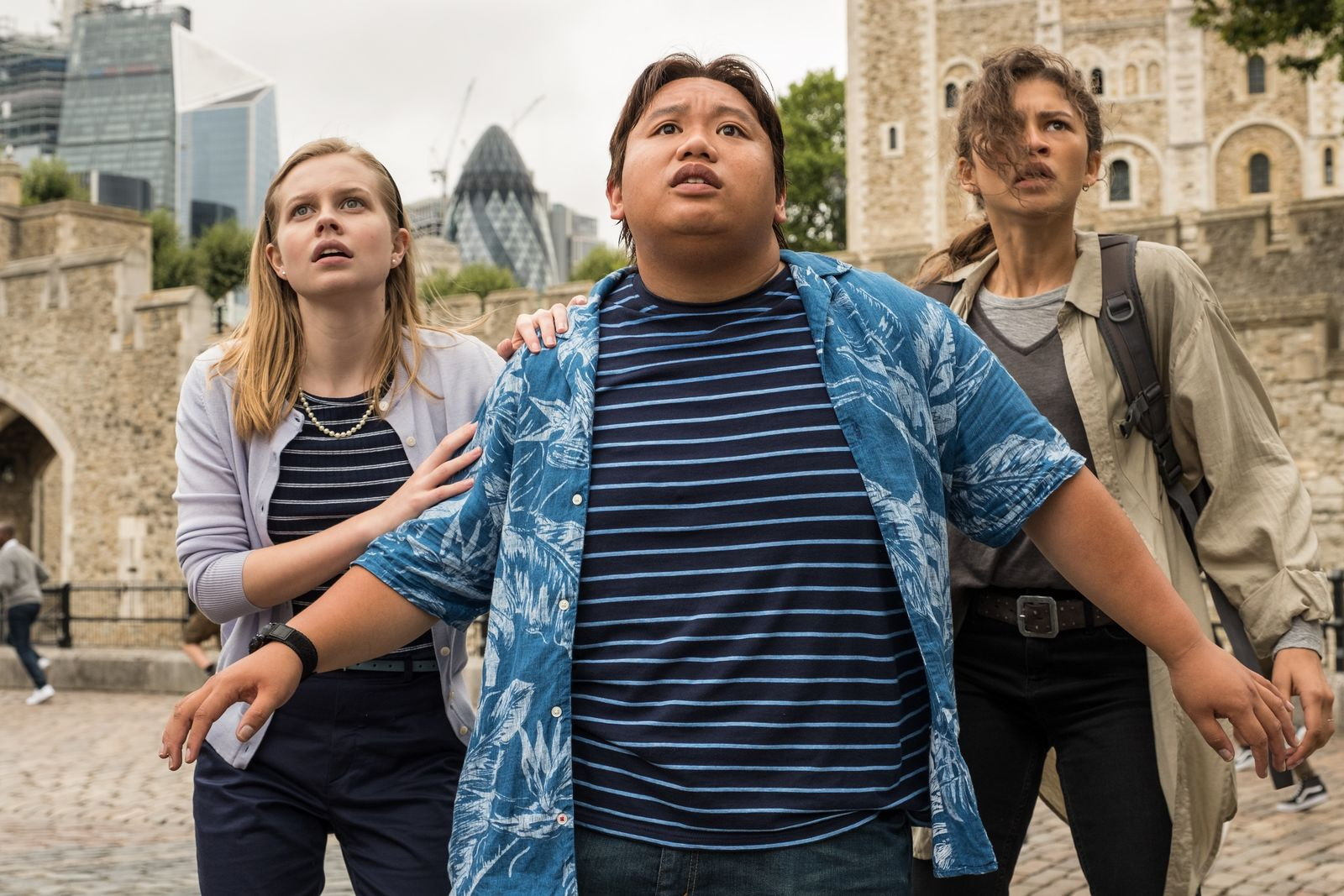Angourie Rice, Jacob Batalon and Zendaya in Columbia Pictures' SPIDER-MAN: ™ FAR FROM HOME.{ }(Photo: Sony)