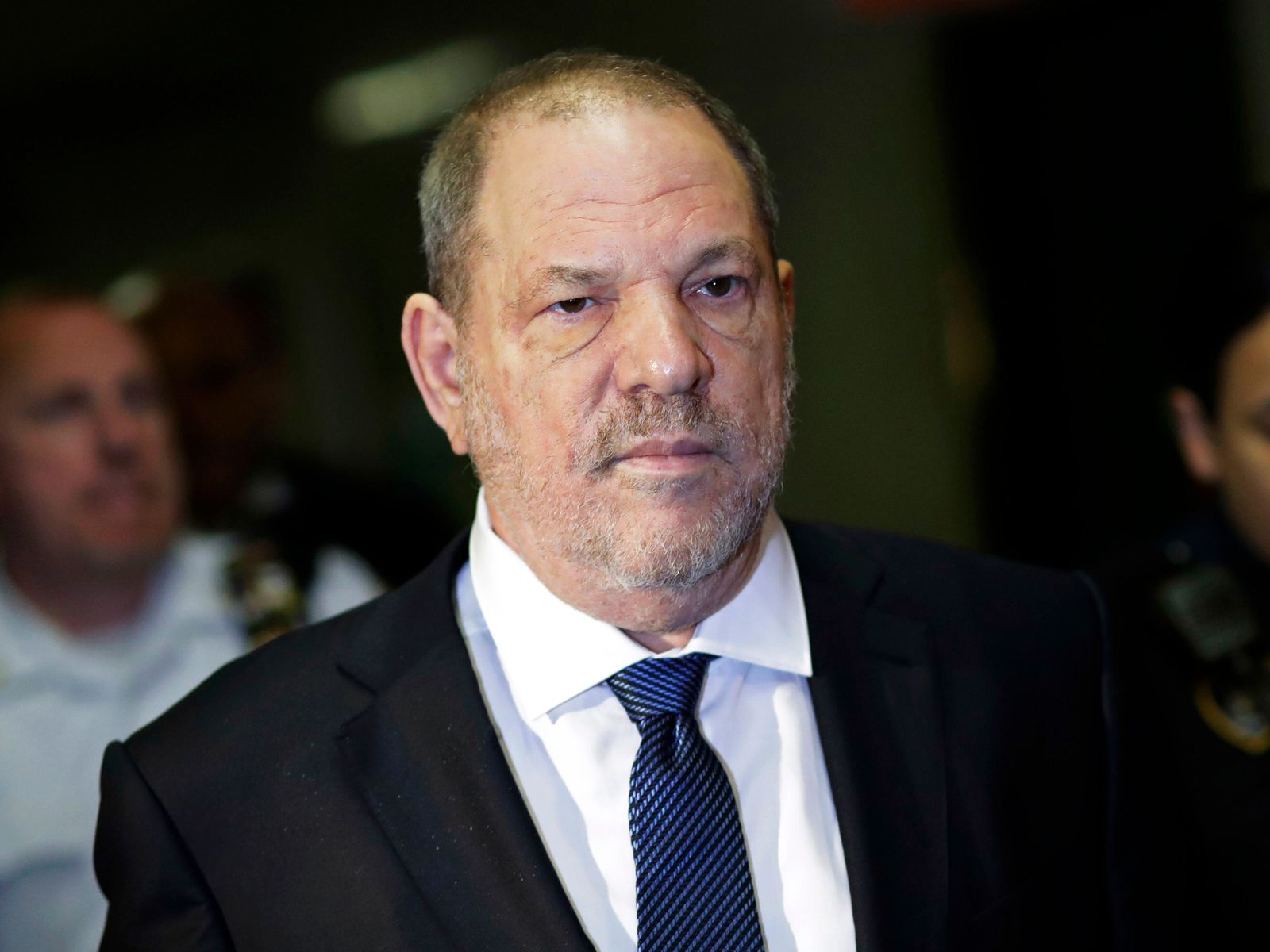 FILE - In this Oct. 11, 2018 file photo, Harvey Weinstein enters State Supreme Court in New York.{ } (AP Photo/Mark Lennihan, File)