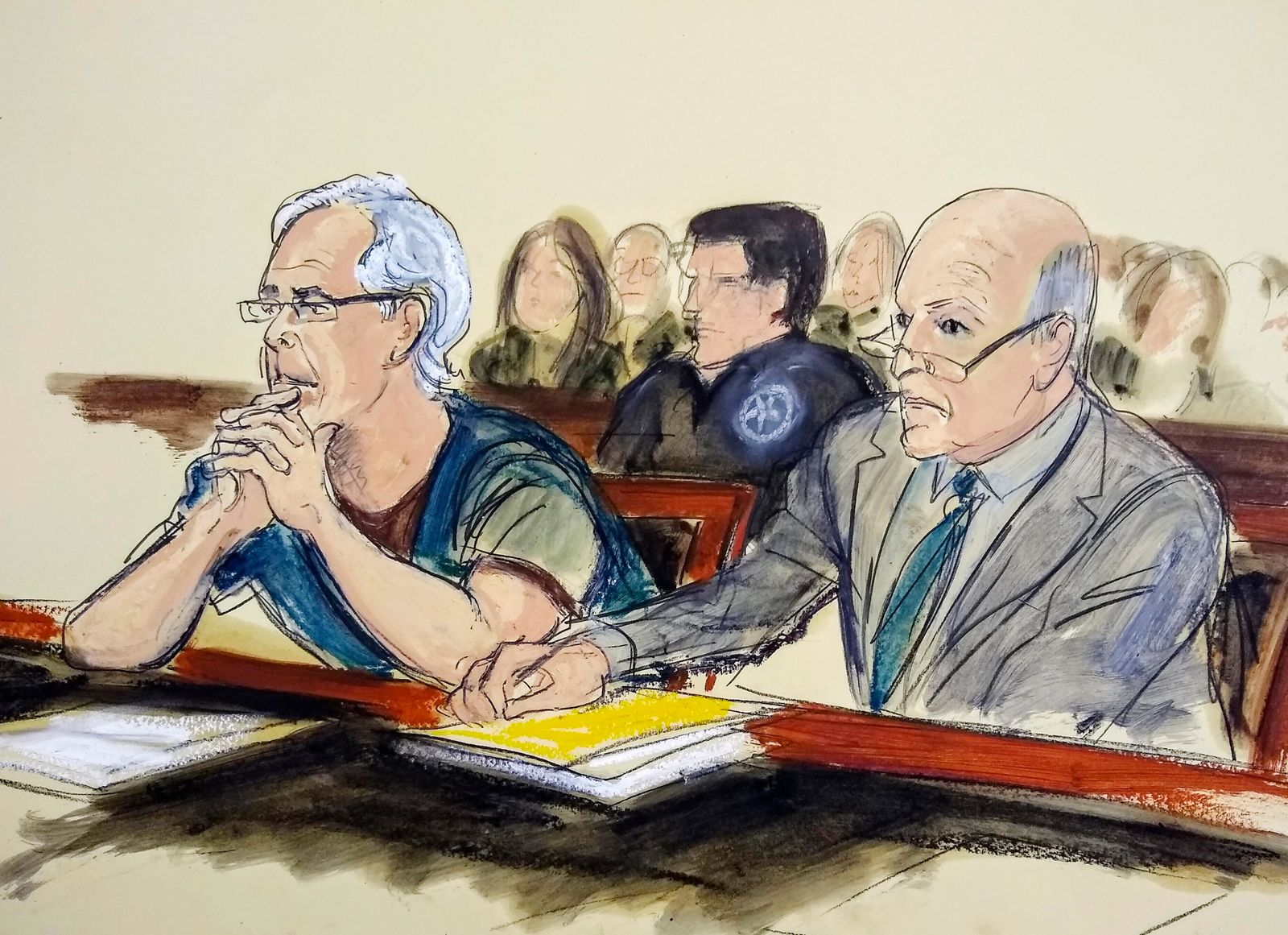 FILE - In this July 15, 2019 courtroom artist's sketch, defendant Jeffrey Epstein, left, and his attorney Martin Weinberg listen during a bail hearing in federal court, in New York. (Elizabeth Williams via AP, File)