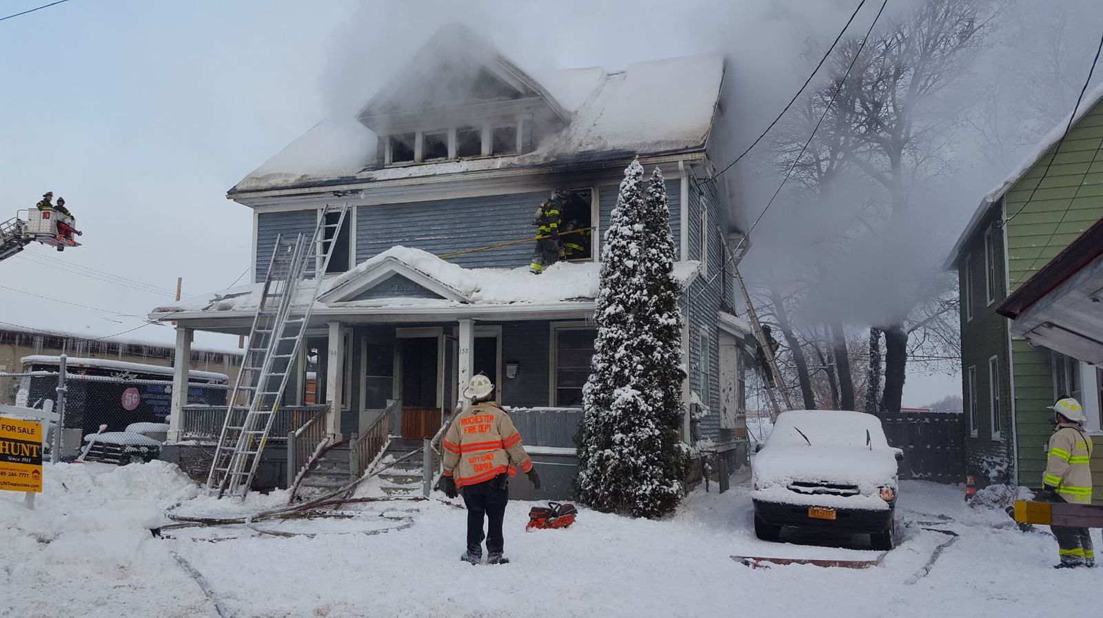 According to Rochester Fire Department Public Information Officer F.F. Hudson, the Rochester Fire Department was dispatched to a fire at 160 Palm Street at 7:37 a.m. Sunday. (Photo: Rochester Fire Department){ }