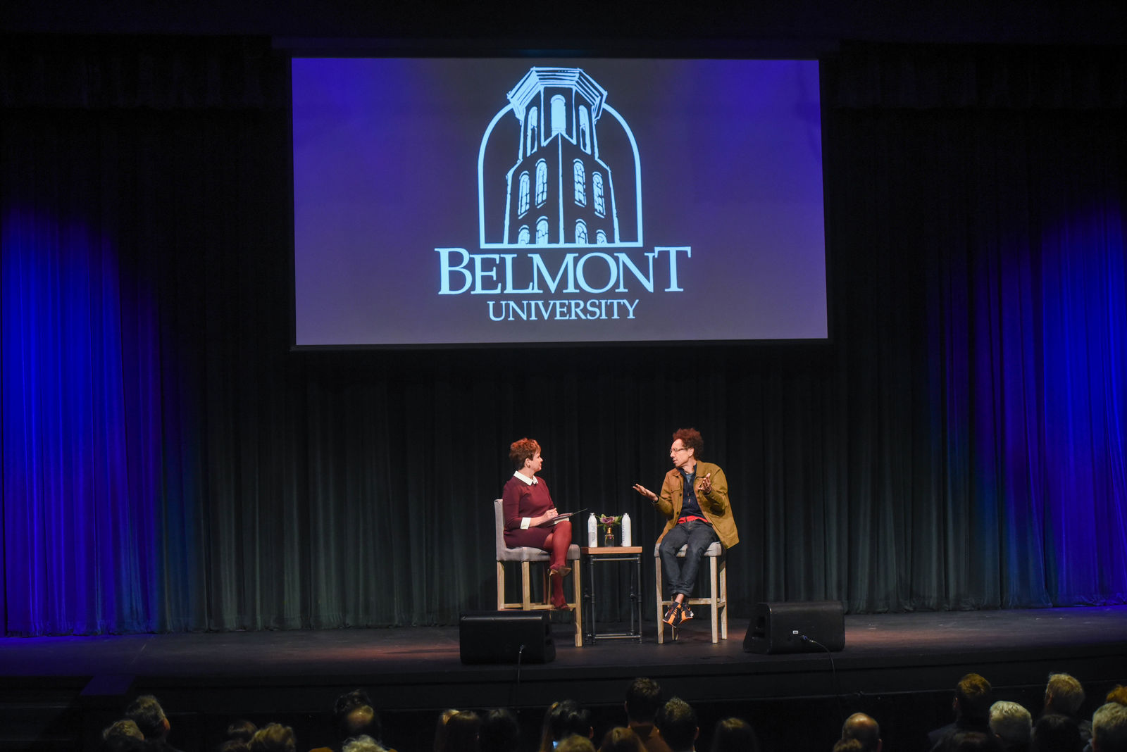 Malcolm Gladwell is interviewed by Demetria Kalodimos at the Fall Leadership Breakfast at Belmont University in Nashville, Tennessee, October 22, 2019.{ }Photos: Belmont University.
