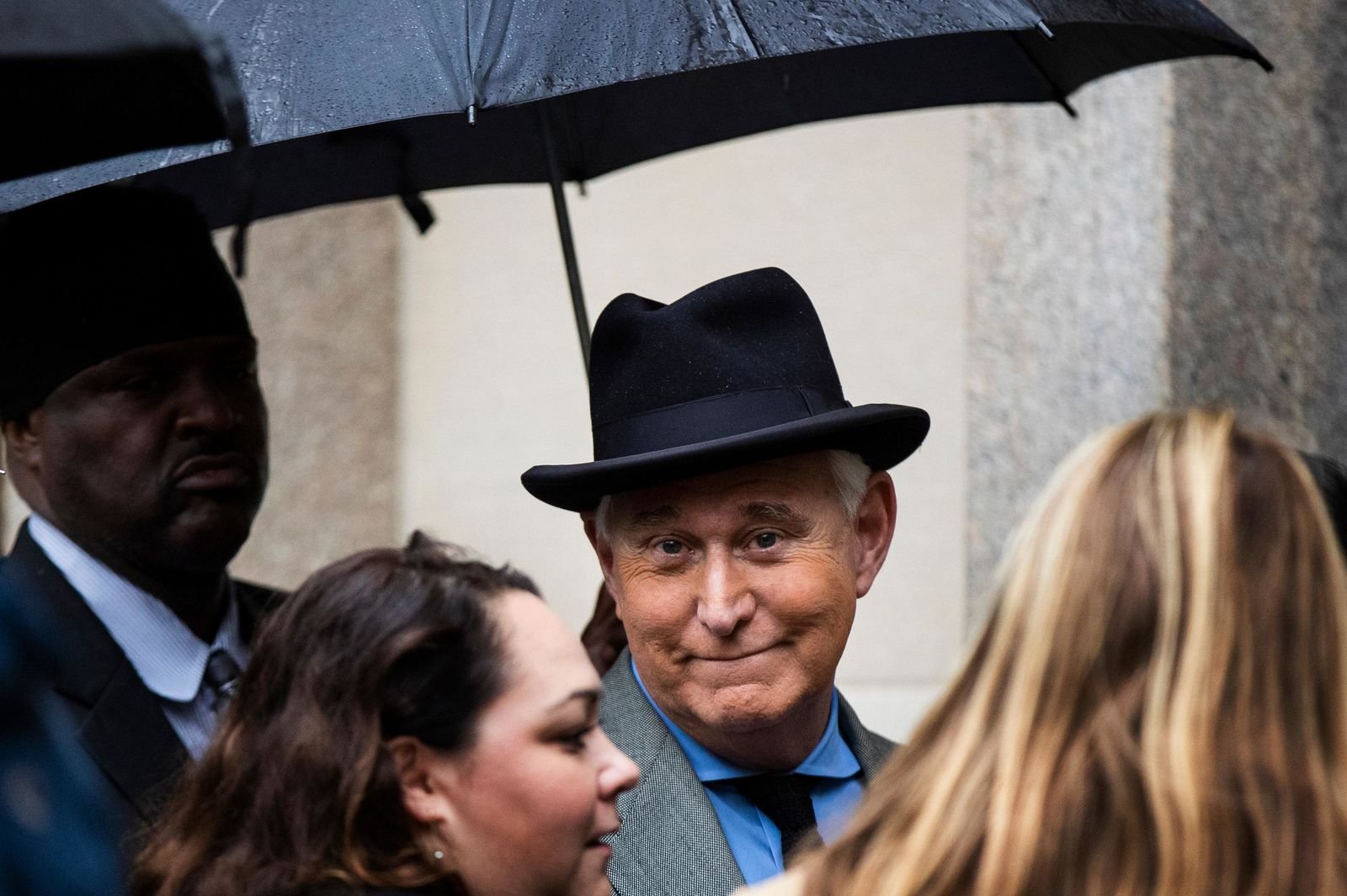 FILE - In this Nov. 12, 2019 file photo, Roger Stone, a longtime Republican provocateur and former confidant of President Donald Trump, waits in line at the federal court in Washington. (AP Photo/Manuel Balce Ceneta)