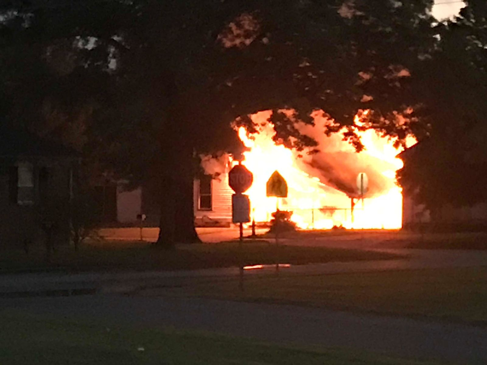 Two people were killed when their home caught fire around 6 a.m. Sunday in Pryor.{&nbsp;}(Courtesy of Nancy Schaumburg)<p></p>