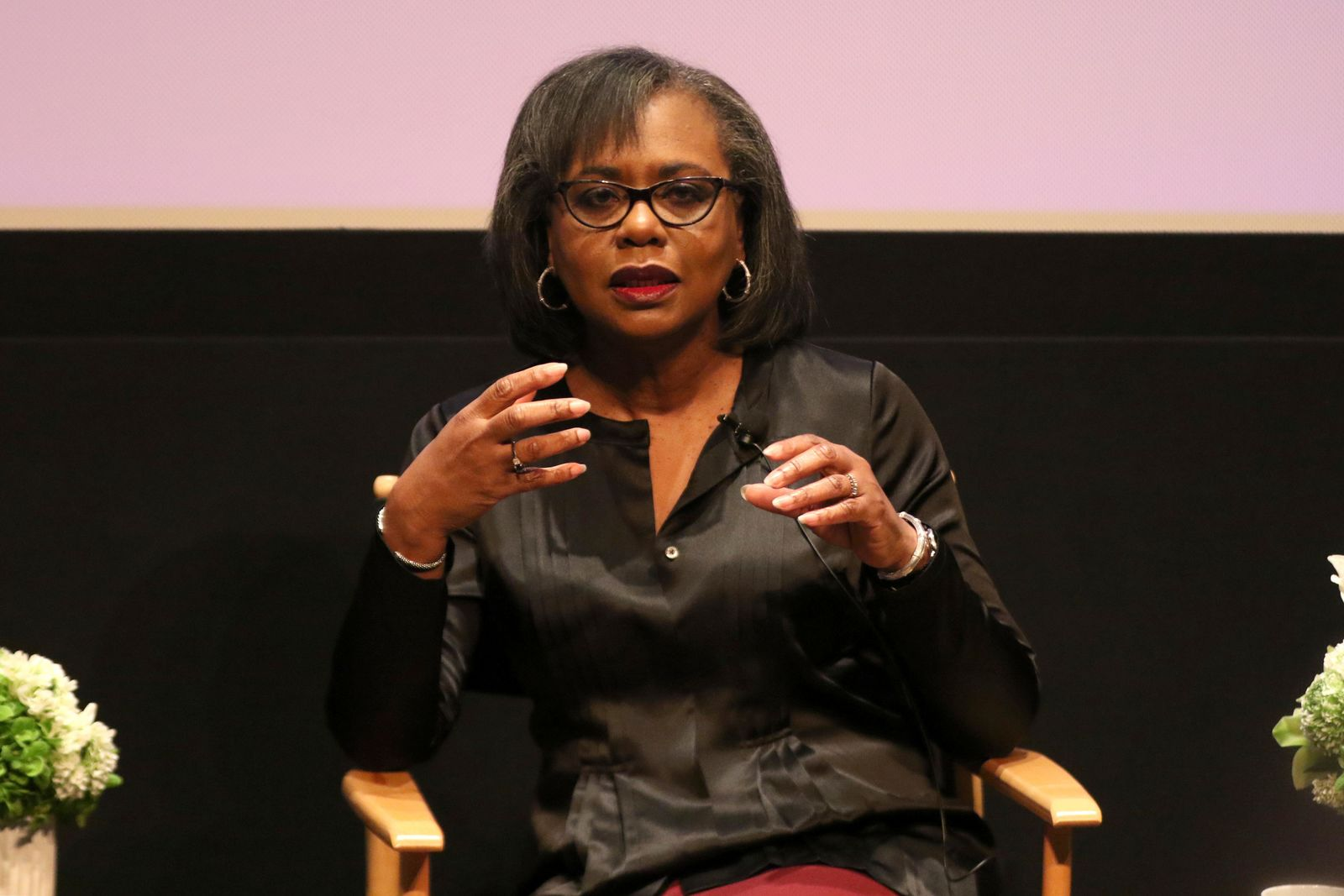 Anita Hill speaks at a discussion about sexual harassment and how to create lasting change from the scandal roiling Hollywood at United Talent Agency on Friday, Dec. 8, 2017, in Beverly Hills, Calif. (Photo by Willy Sanjuan/Invision/AP)